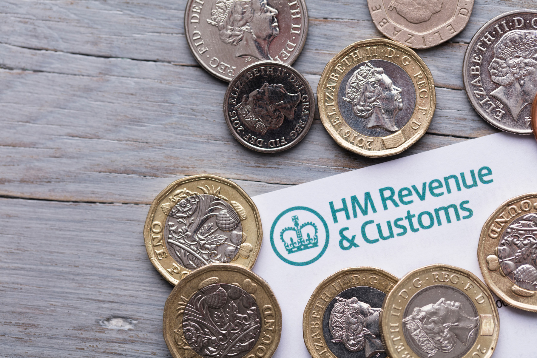 British tax return with coins