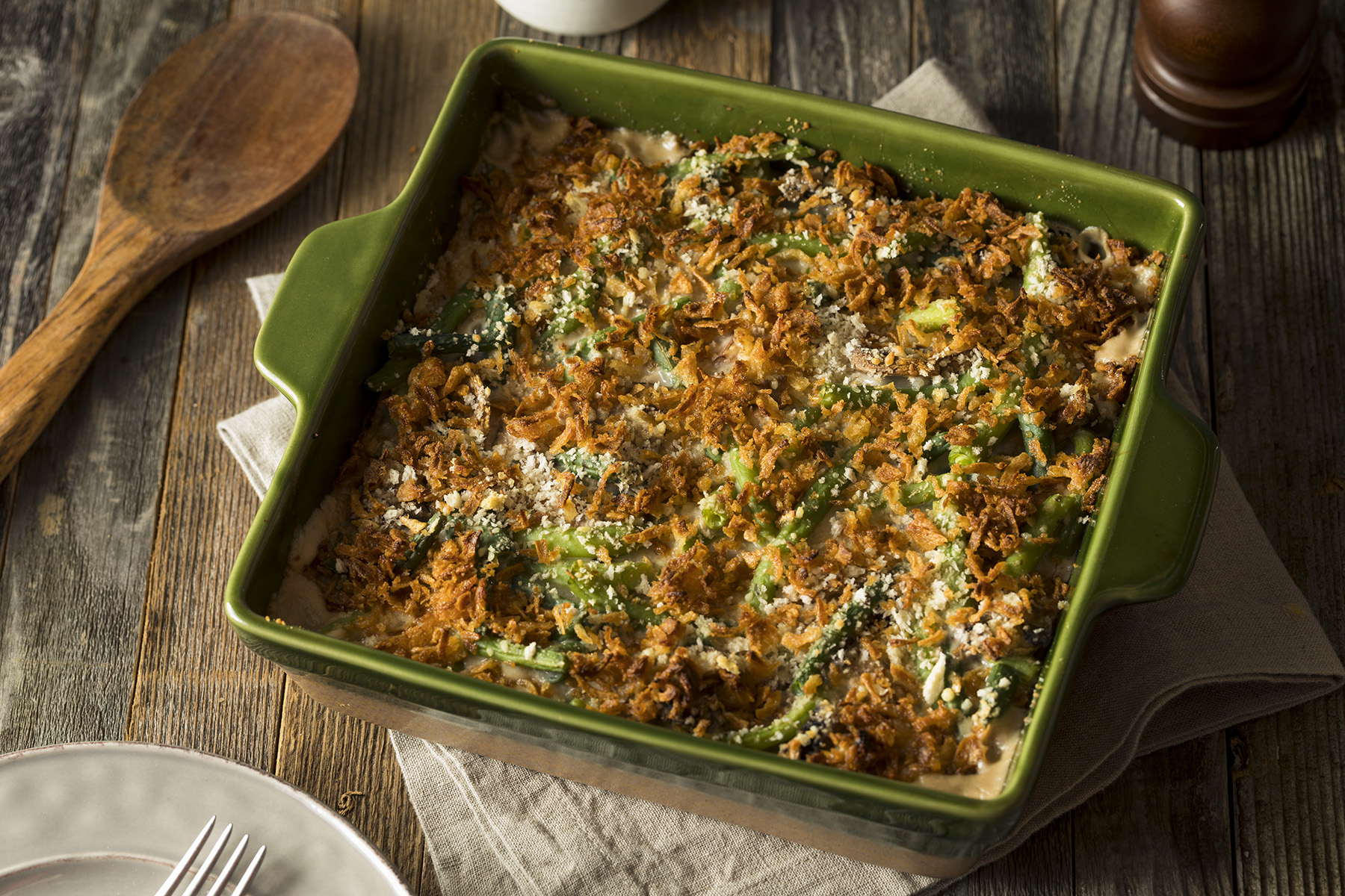 Step up your green bean casserole with a homemade gravy and a better crust.