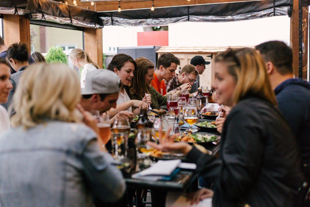Group dinner at restaurant