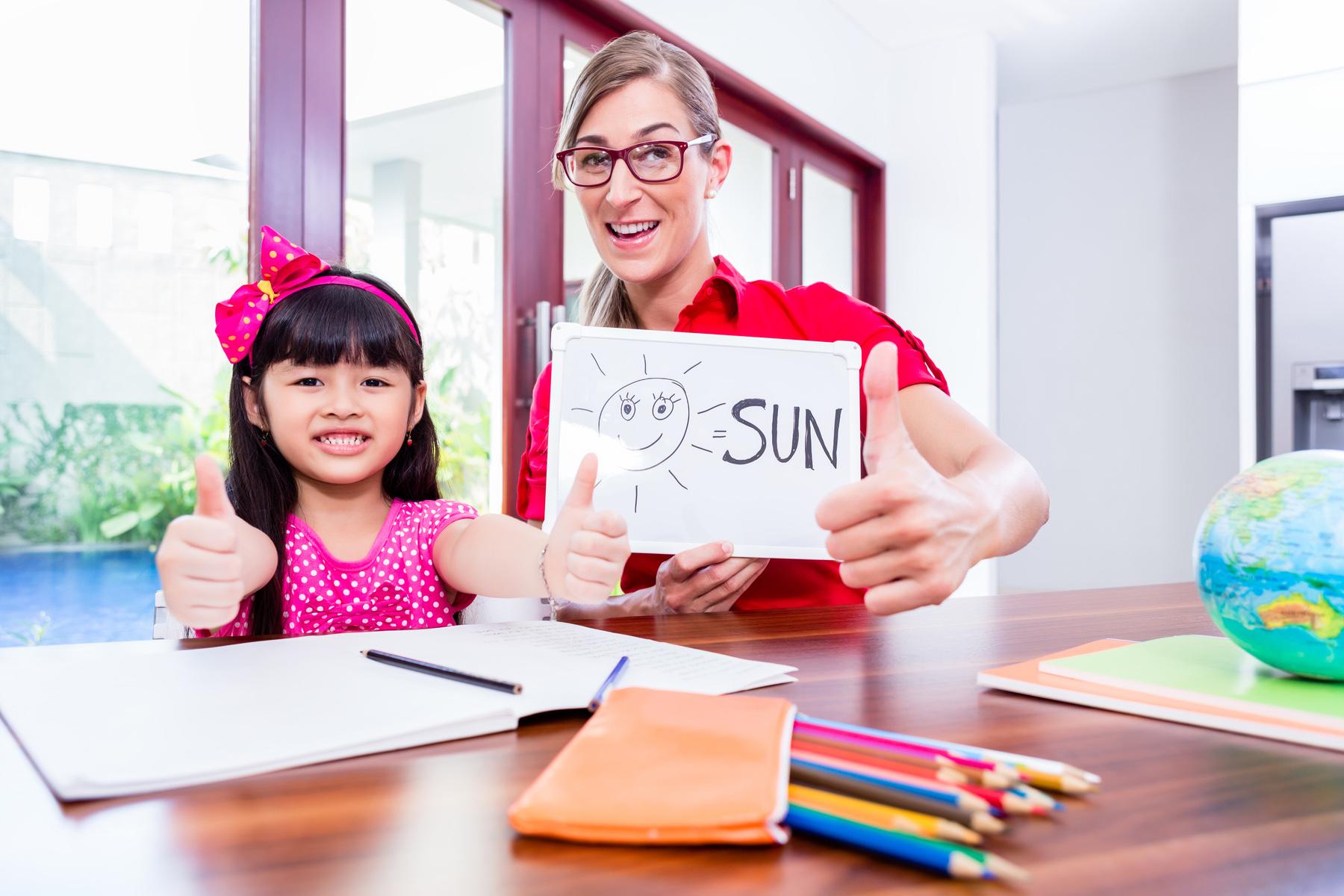 Language tutor with child