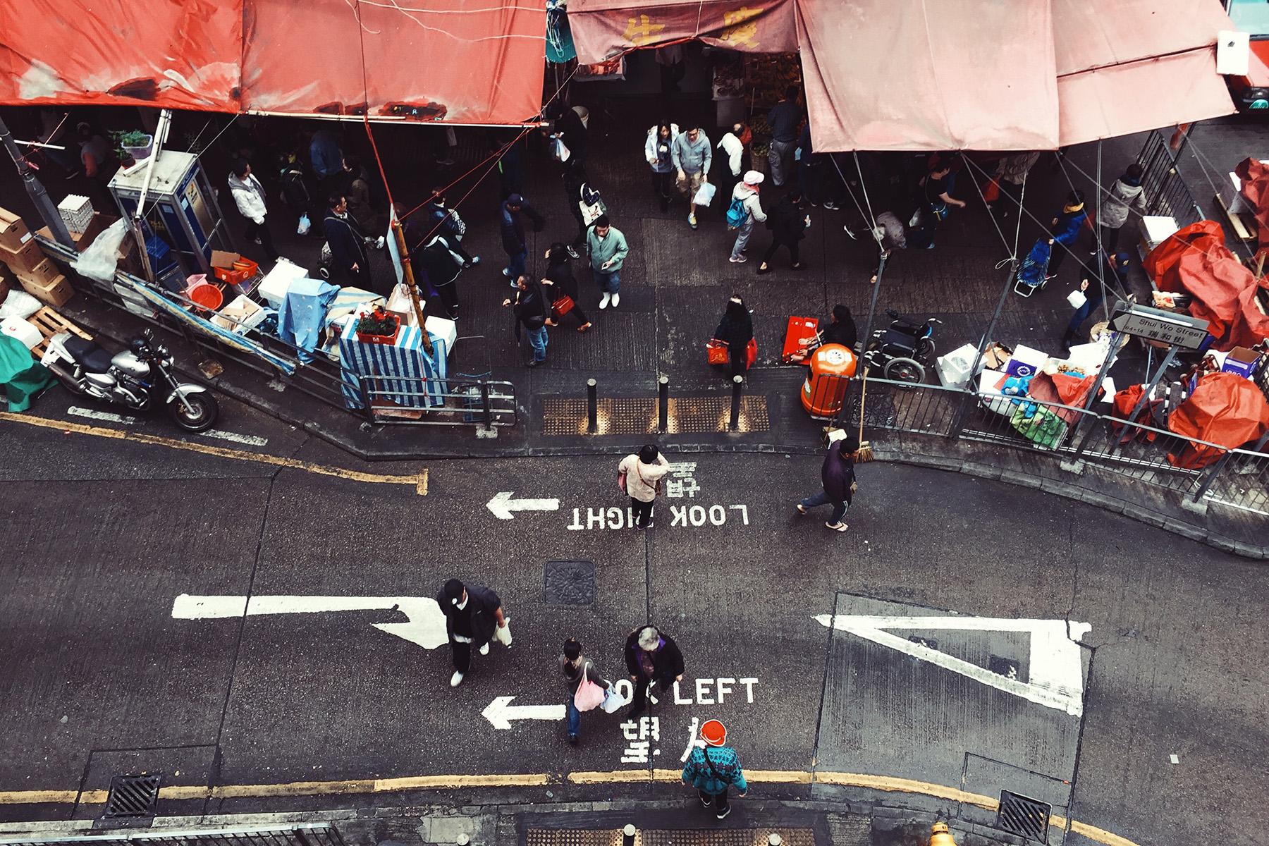 Pedestrian crossing in Hong Kong