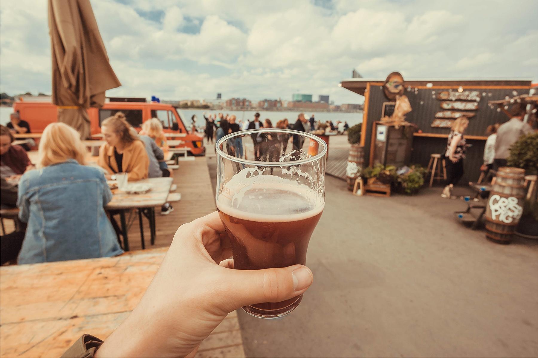 Raising a craft beer glass in Copenhagen