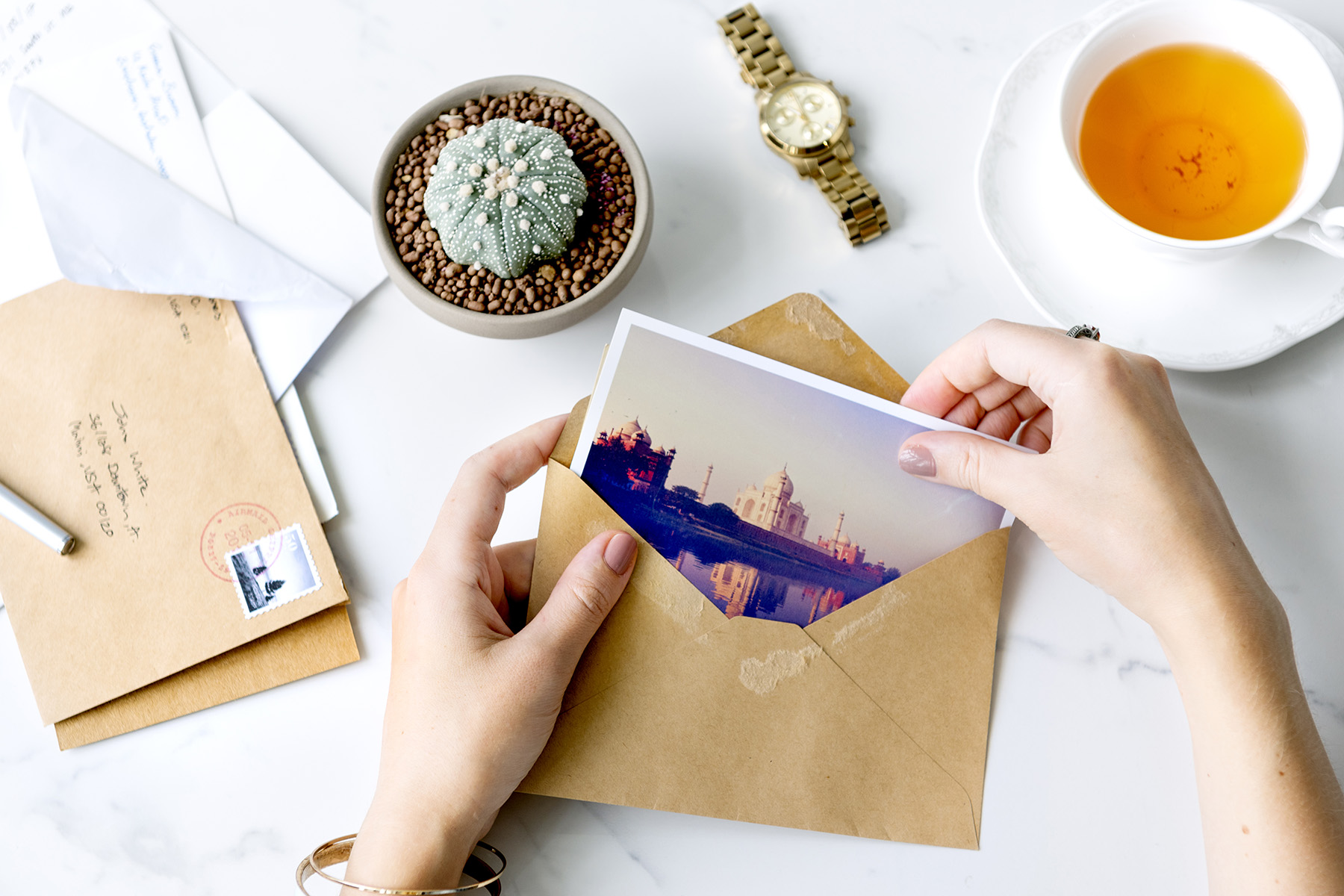 Sending postcard