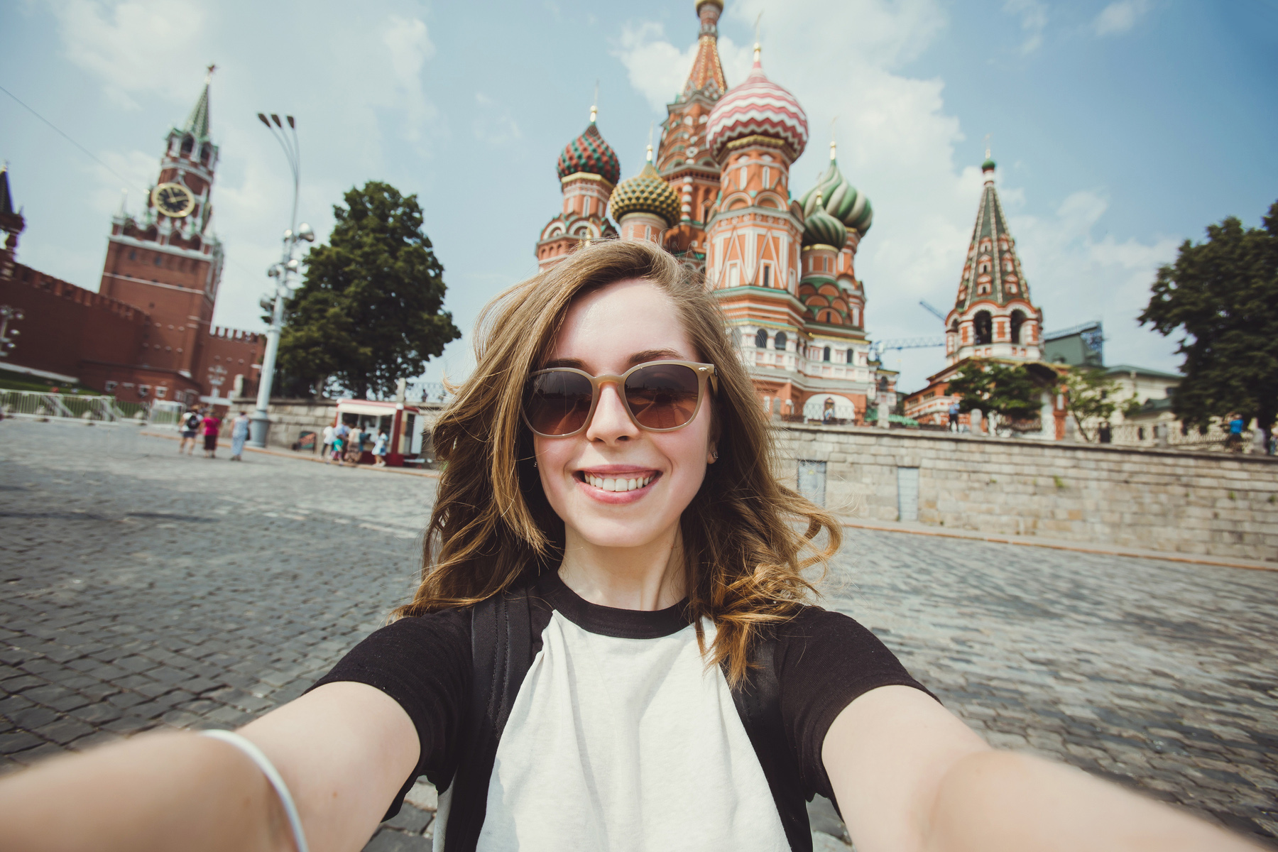 Taking a selfie on Red Square in Moscow