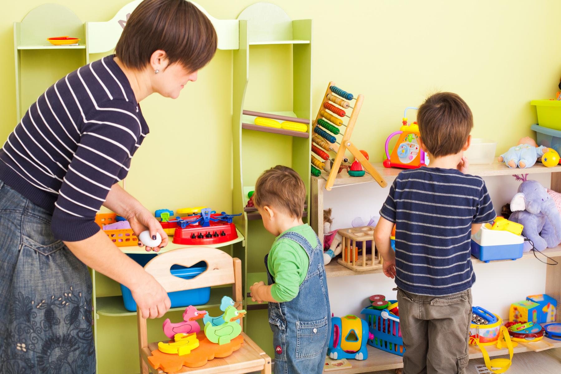 Kids tidying up