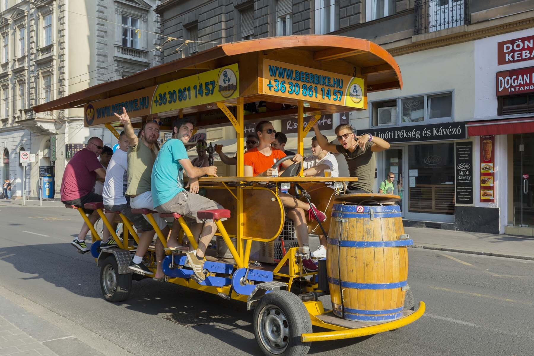 Stag party on a beer bike in Budapest