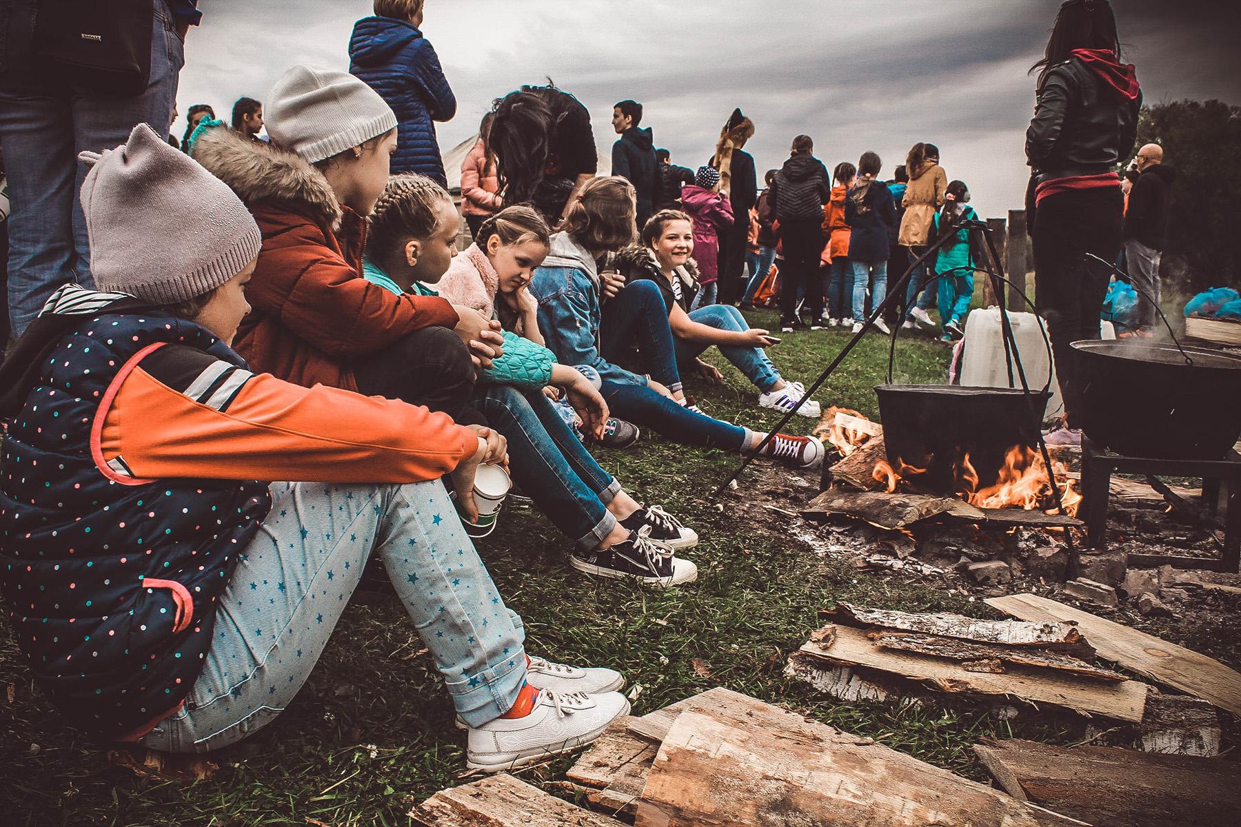 Children at a campfire
