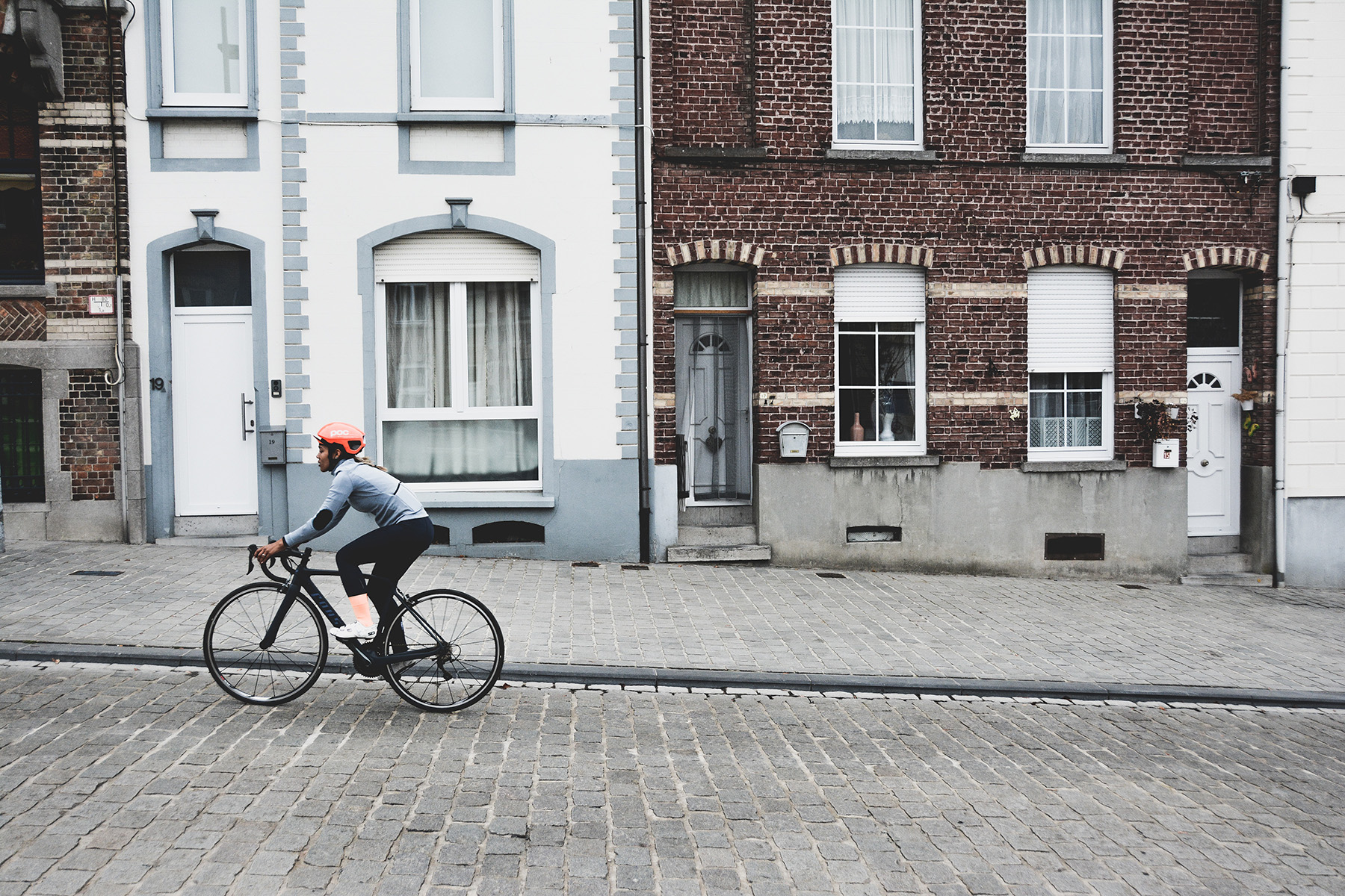Cyclist in a Belgian city