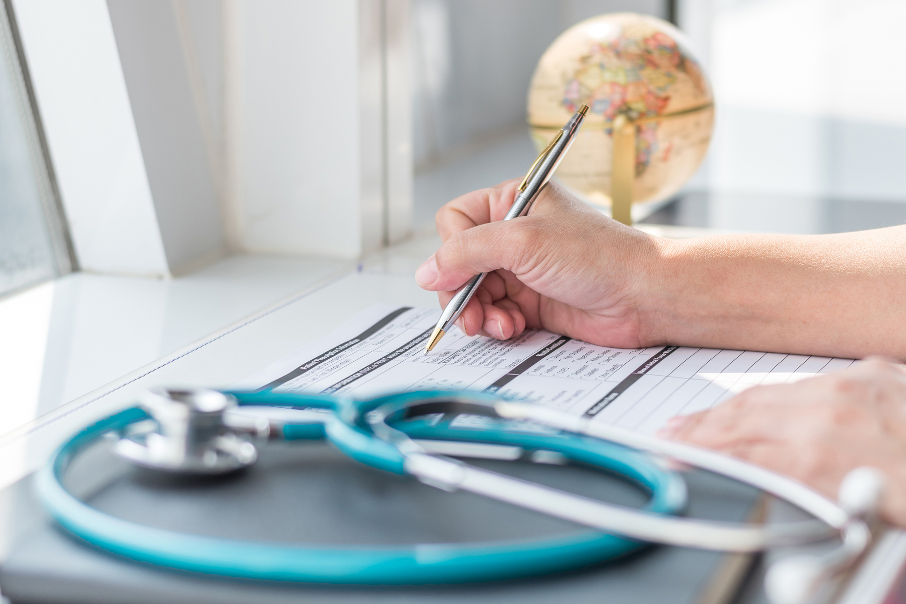 Filling out a medical form