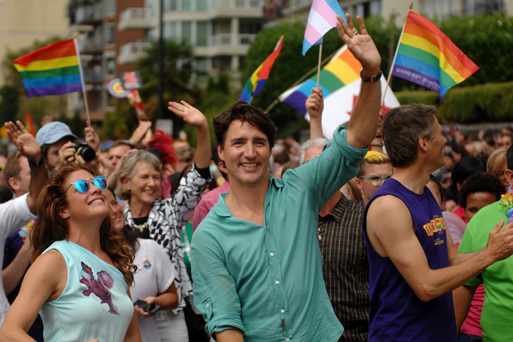 Canadian Prime Minister Justin Trudeau at the 2016 Vancouver Pride Parade