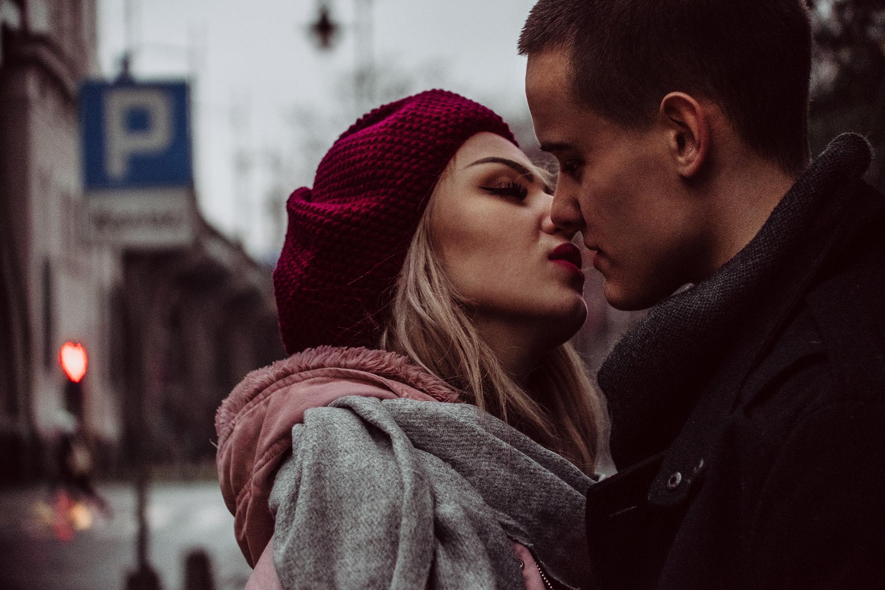 Romantic couple on street