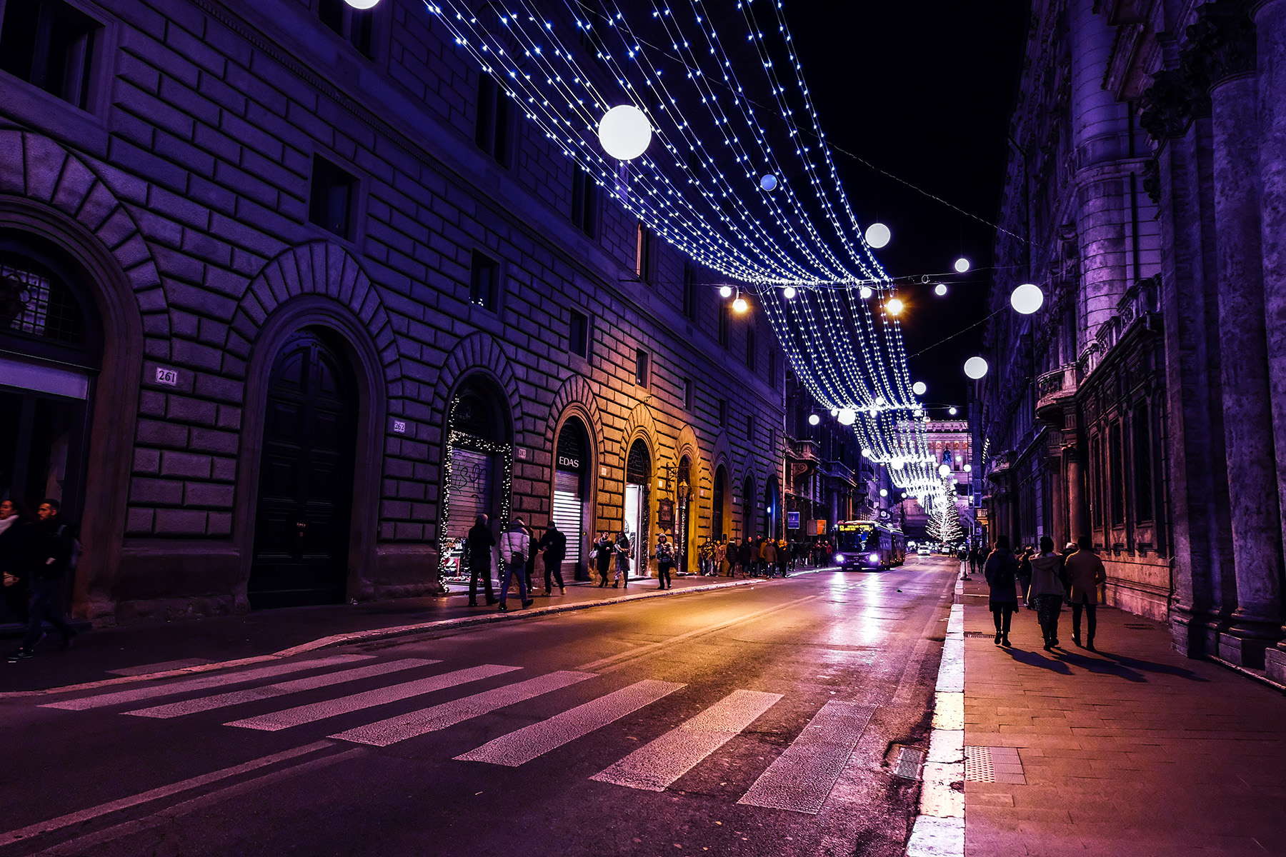 A street in Rome decorated for Christmas