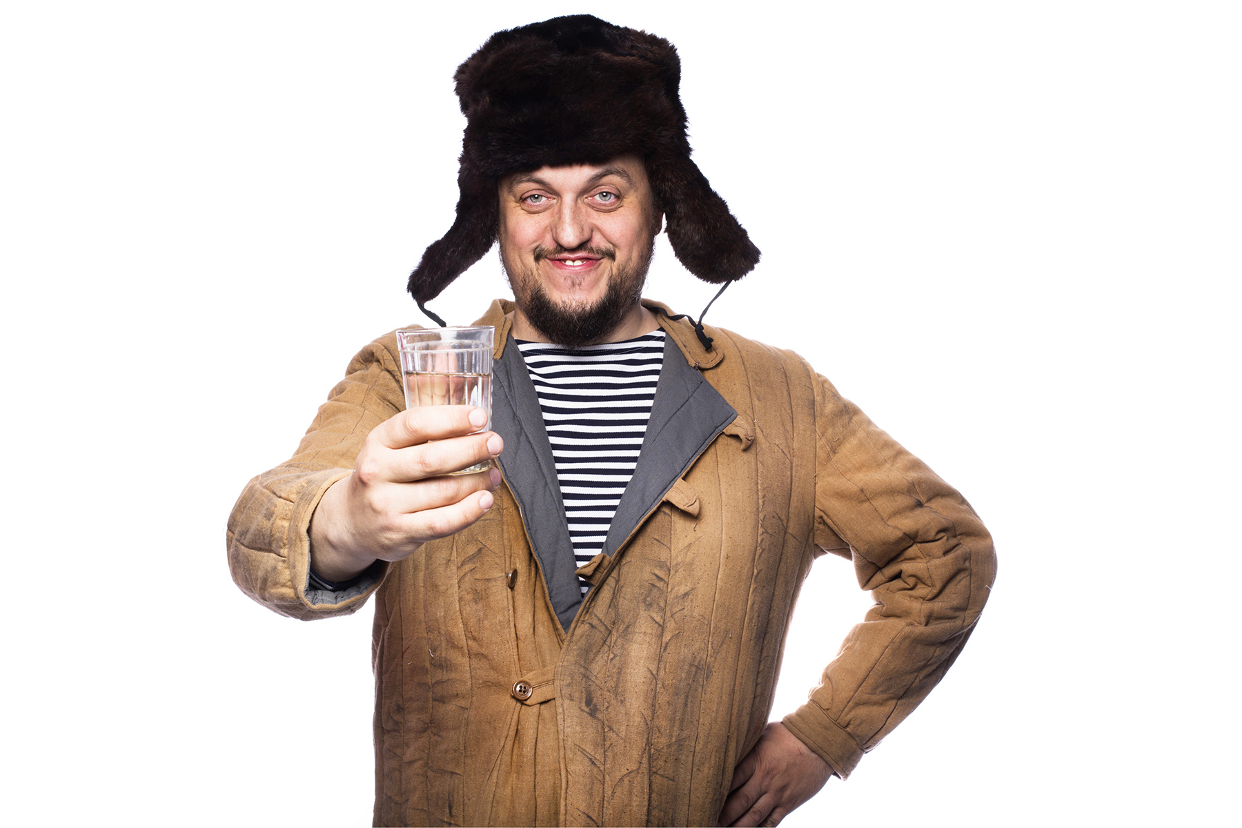 Russian man with a glass of vodka