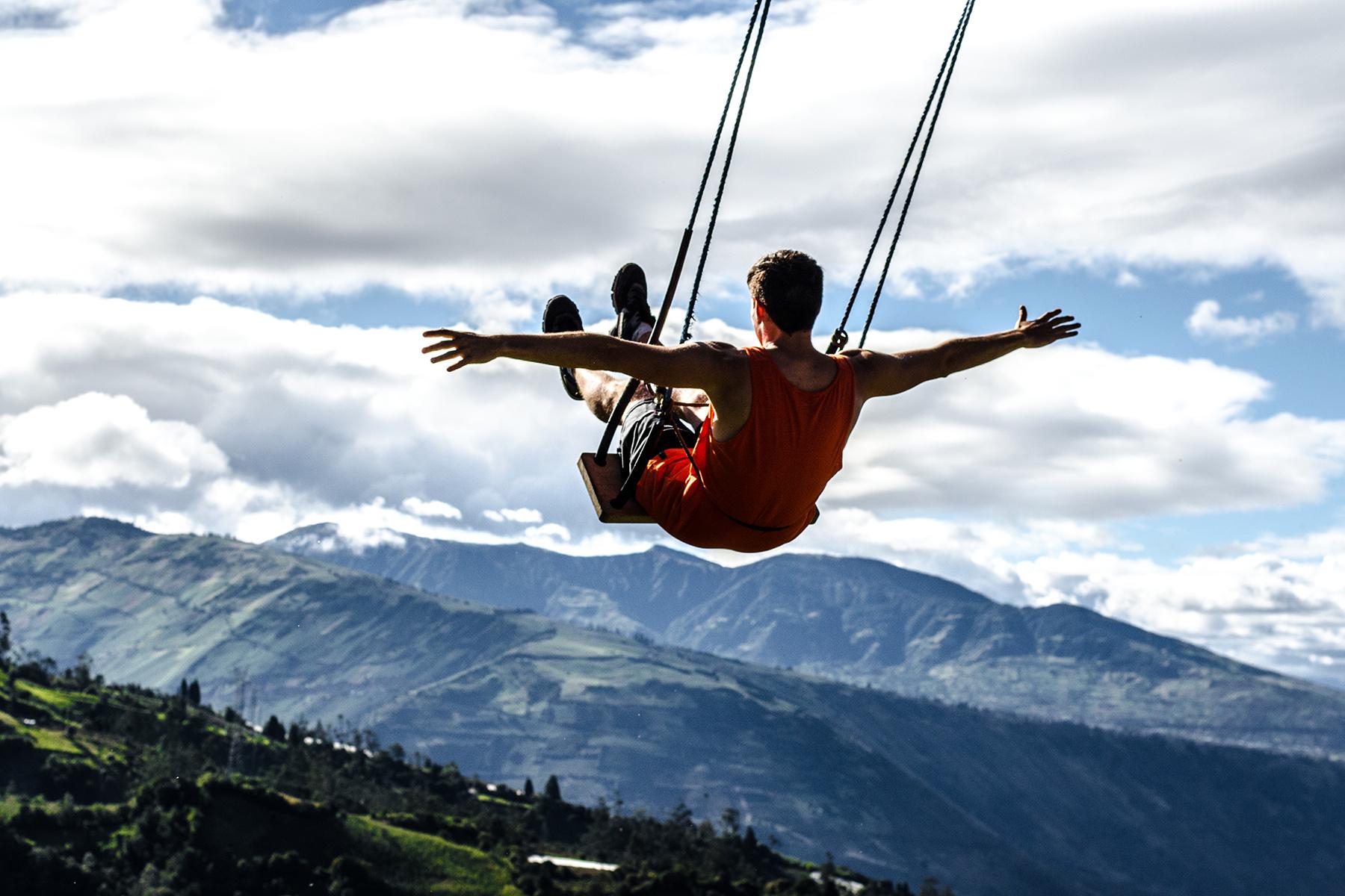 Swing over the jungle in Baños de Agua Santa, Ecuador