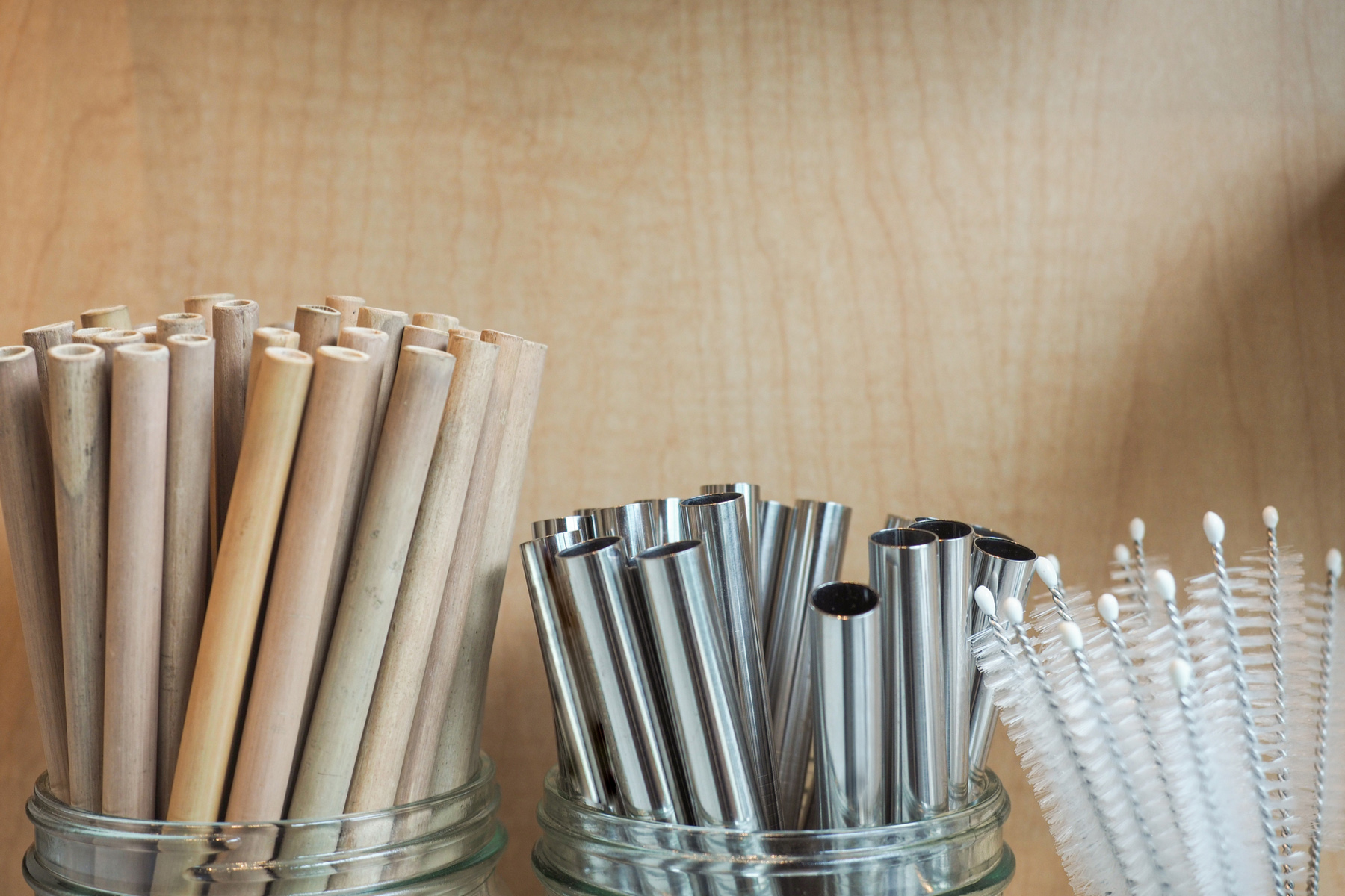 Bamboo and stainless steel straws