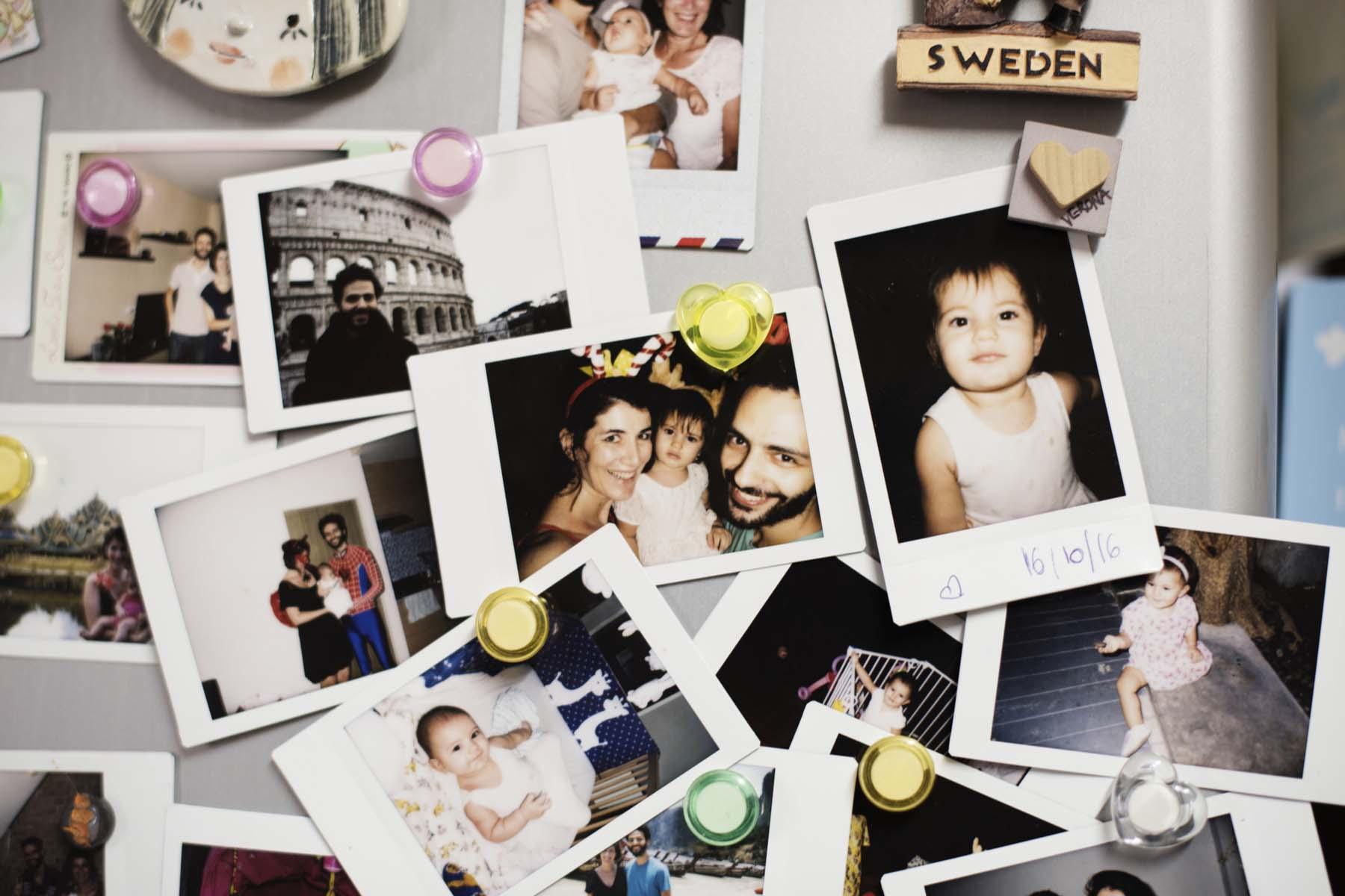 family photos on a wall