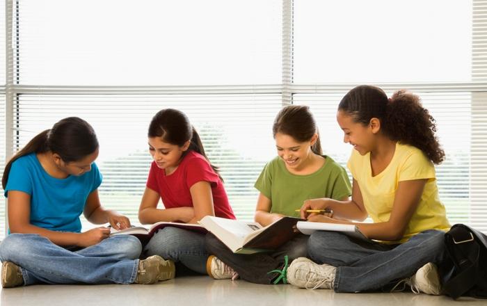 Young girls doing homework