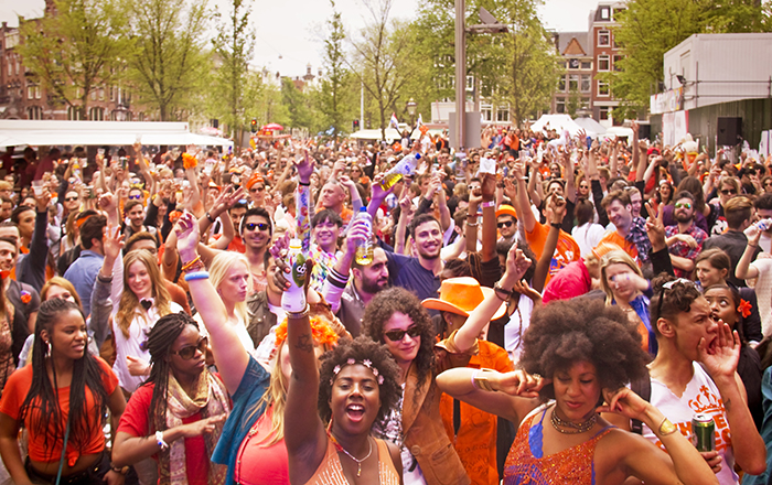 crowd celebrating King's day