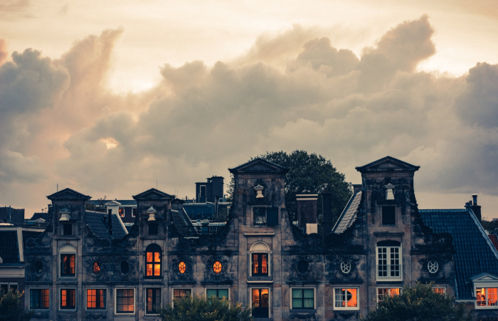 Rooftops of Haesje Claes Dutch restaurant in Amsterdam