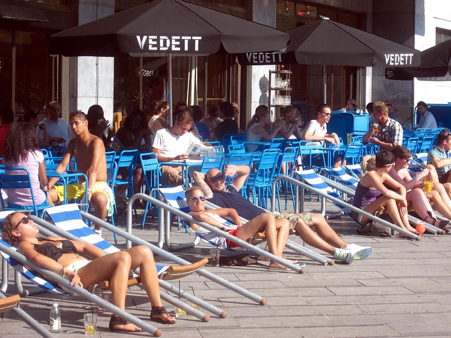 Soaking up the sun at Café Belga's terrace