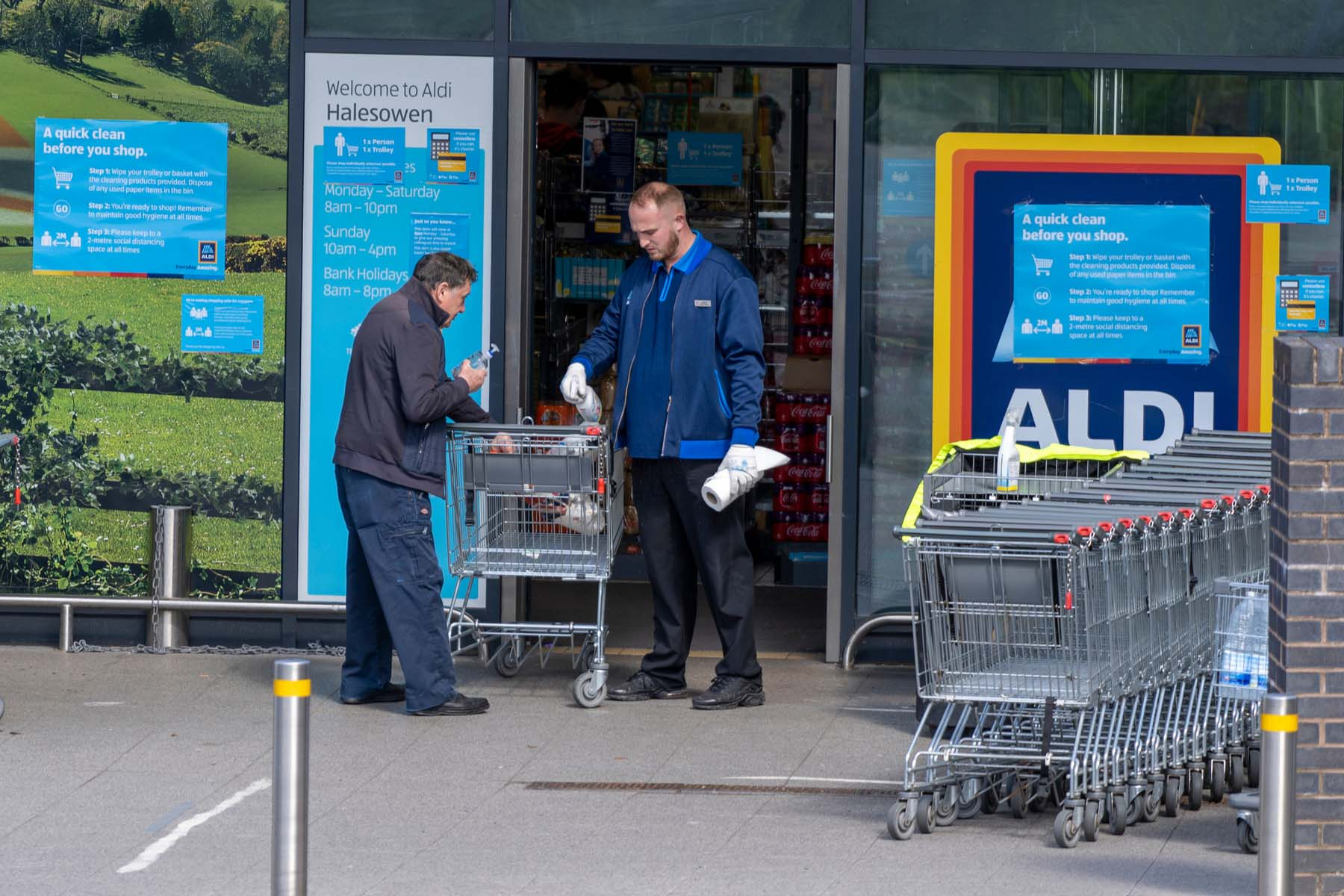 Supermarket workers in the UK
