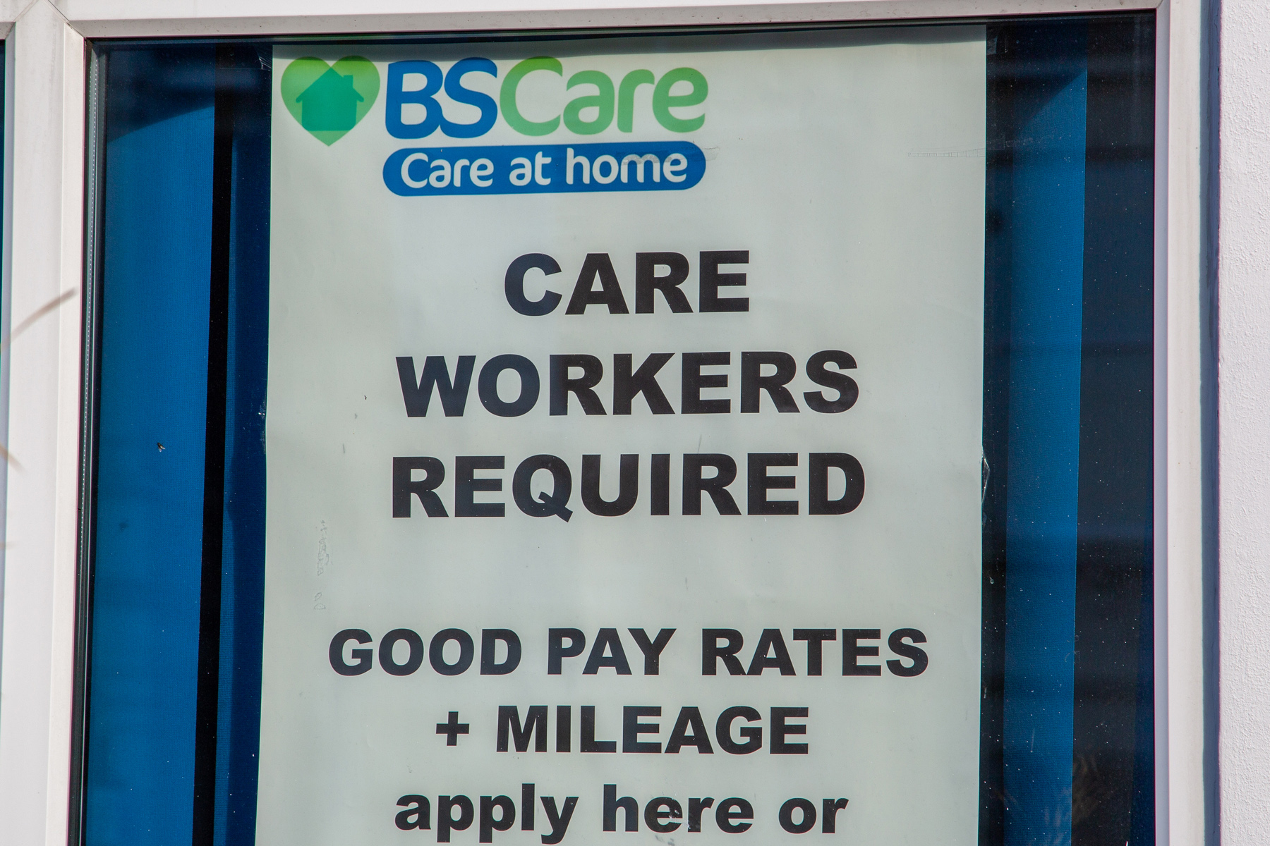 Hiring sign at a care home