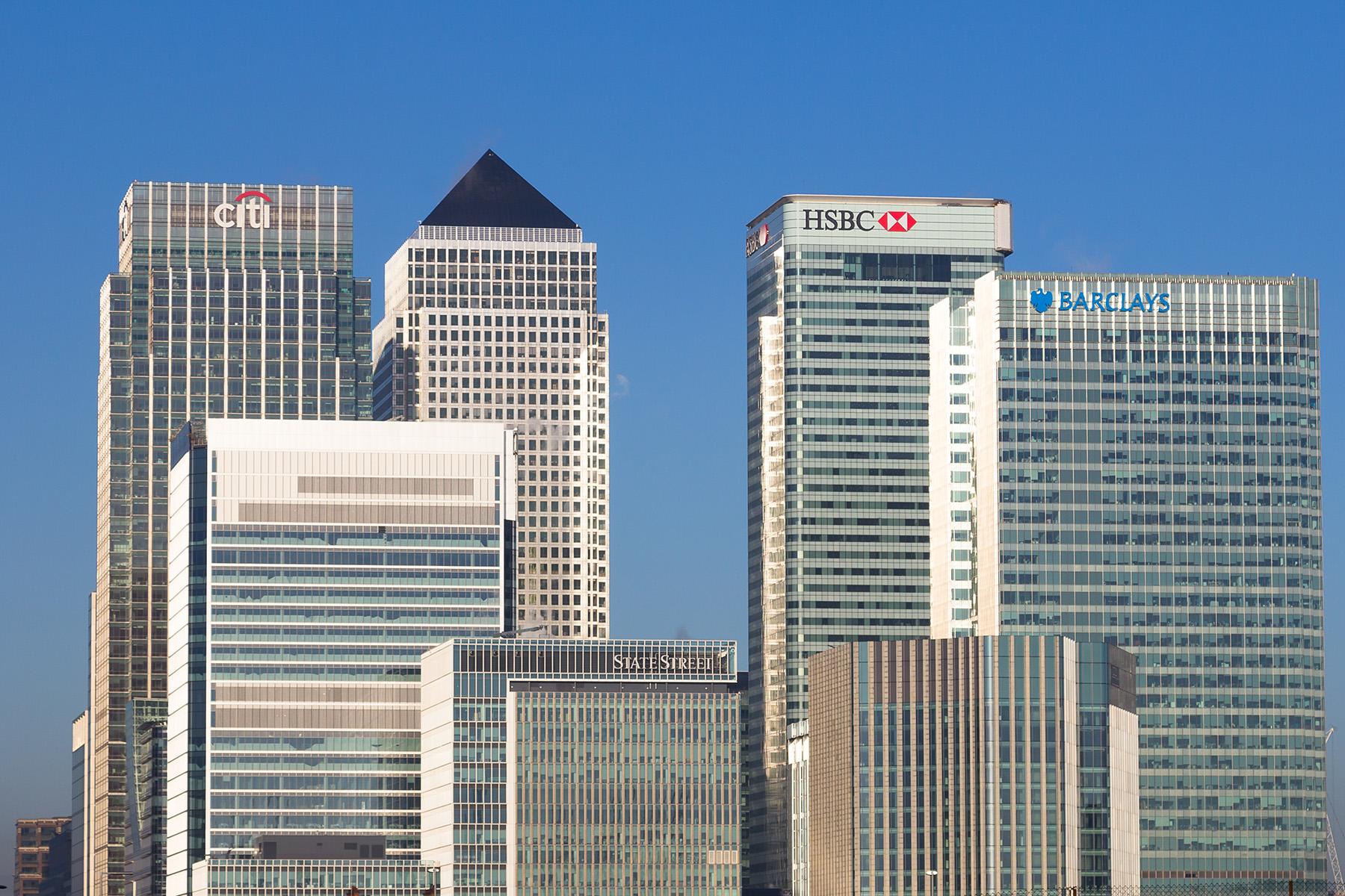 International banks at Canary Wharf