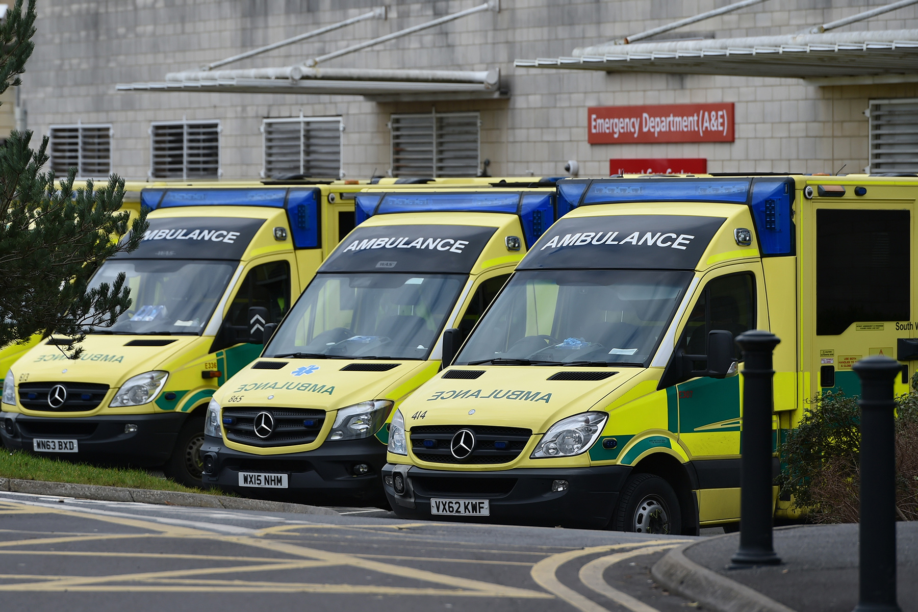 Ambulances in front of a hospital in Bath, England