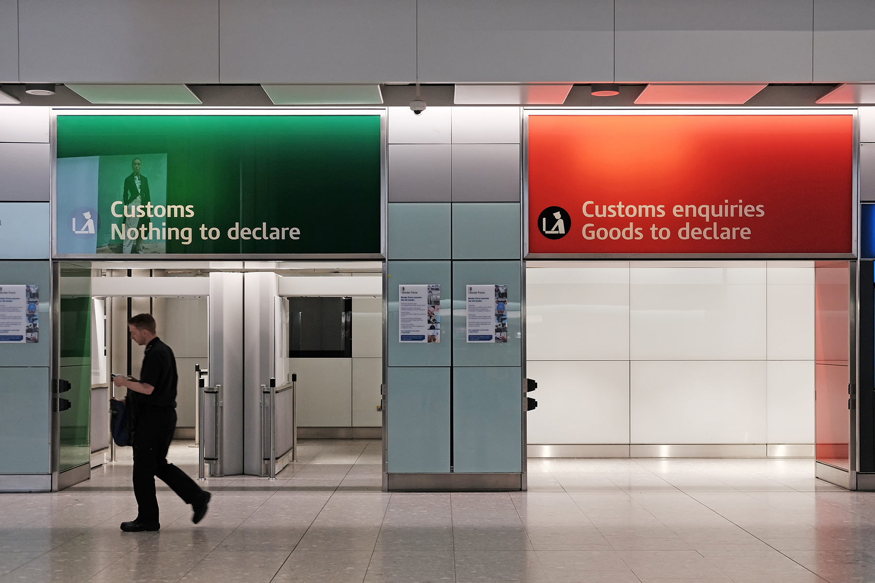 Customs lanes at London Heathrow