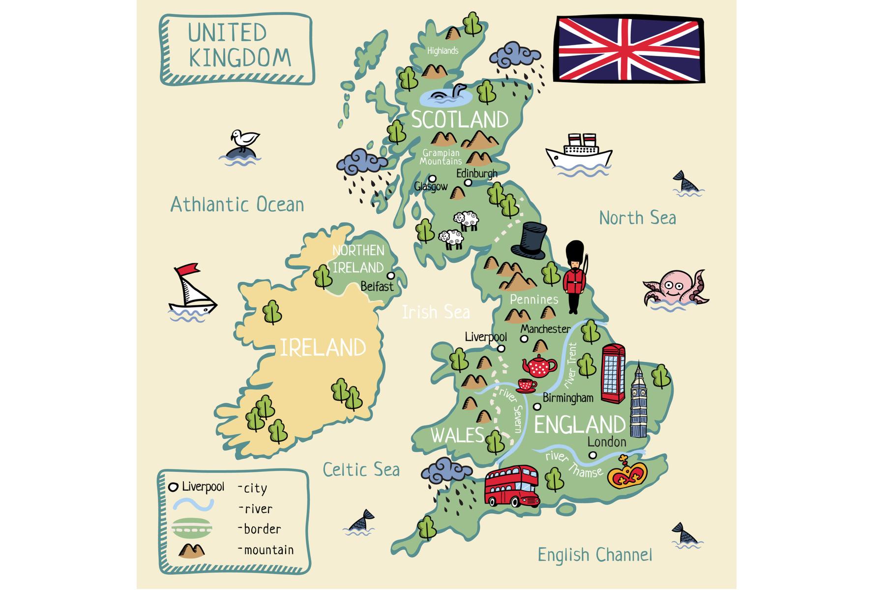 UK language: map of the UK