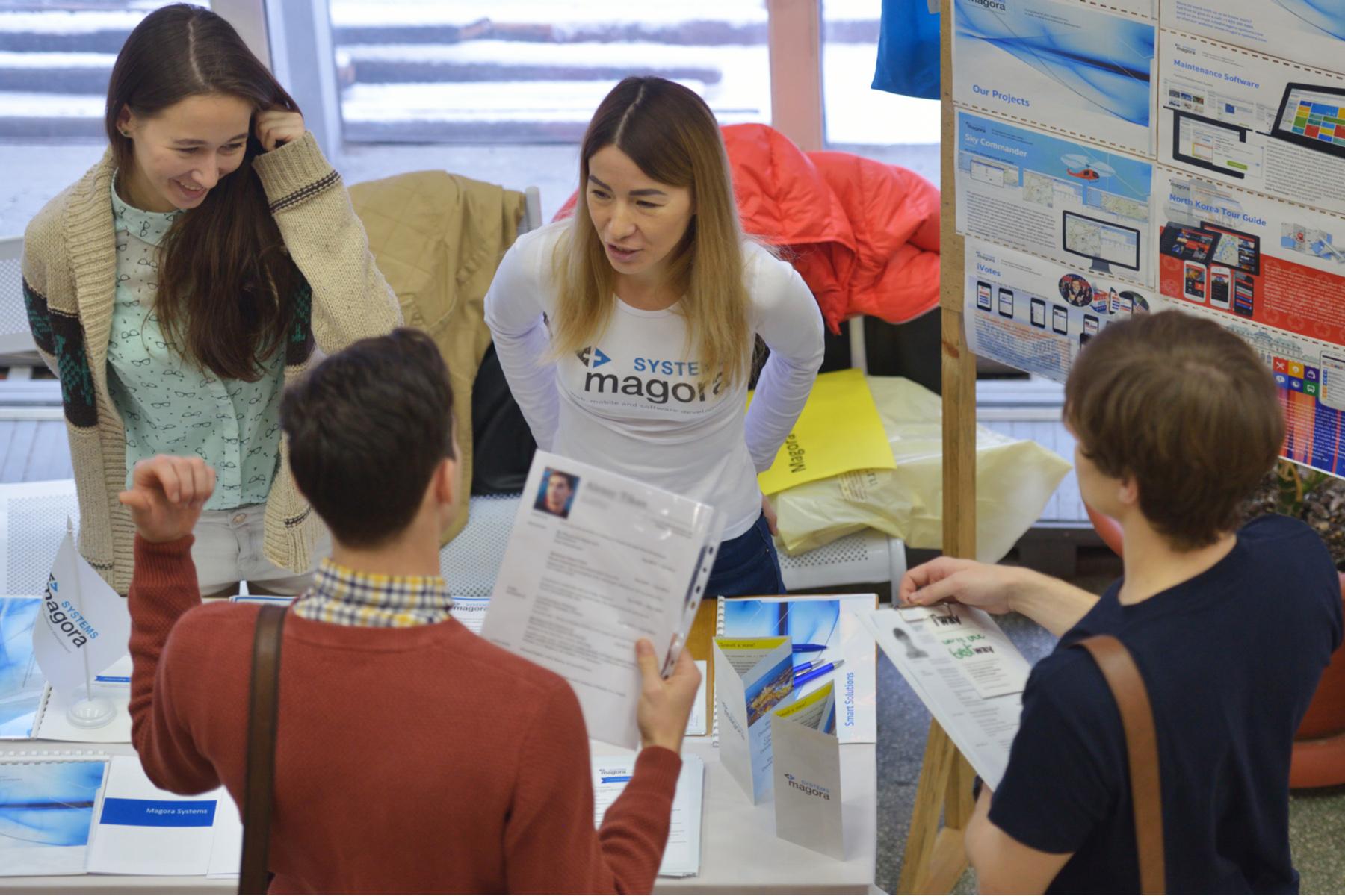 Applicants at a job fair in Russia