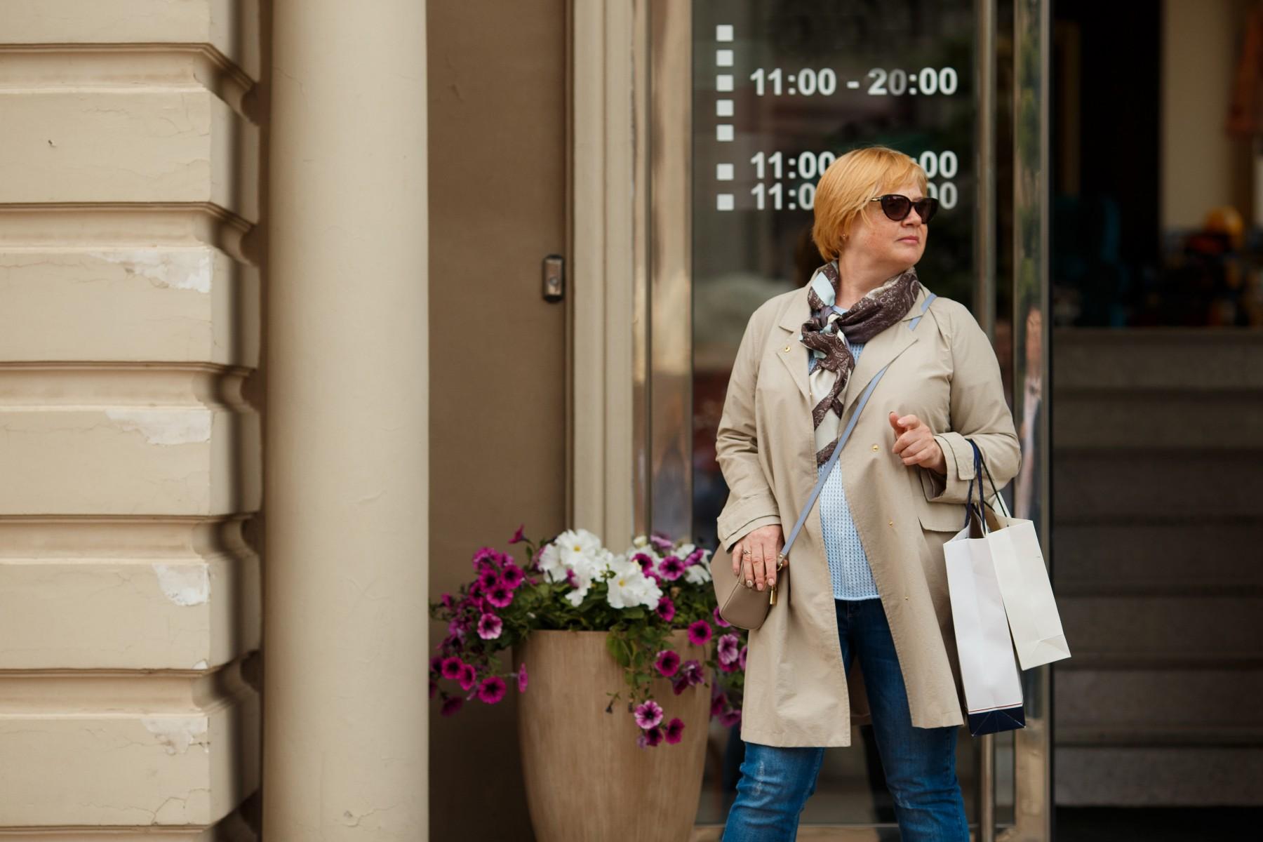 Woman shopping in Russia