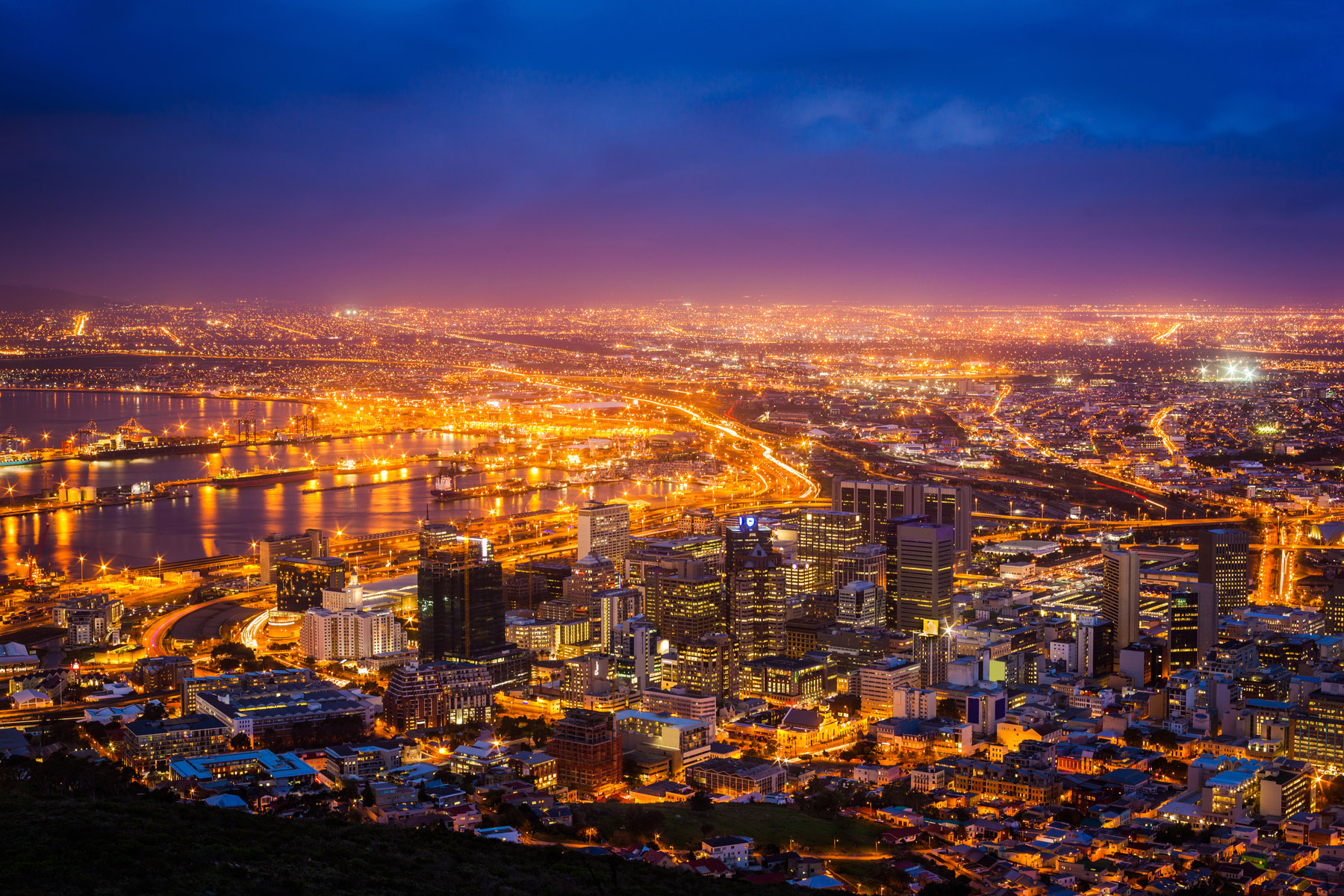 Cape Town skyline at night
