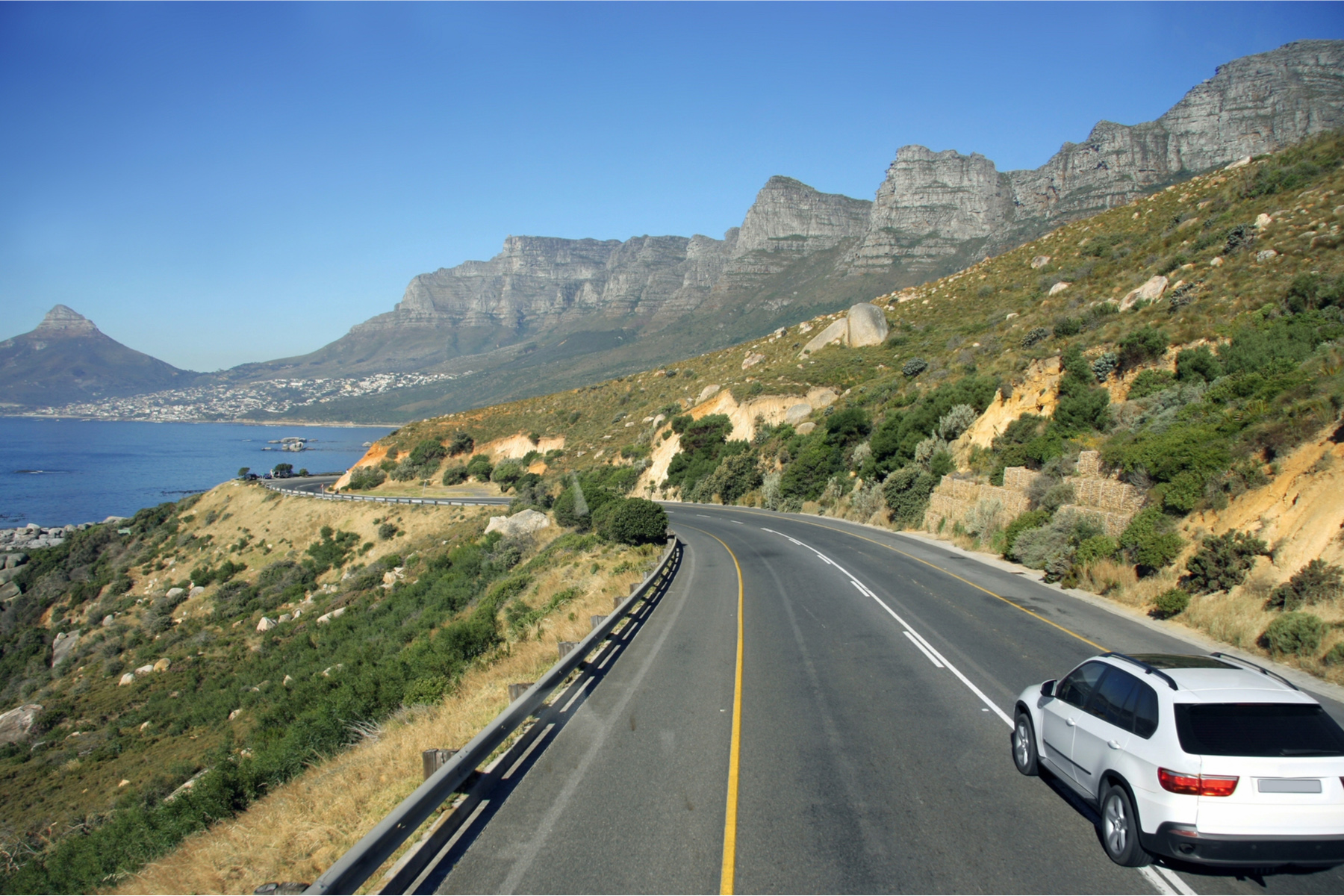 Driving along the South African coast