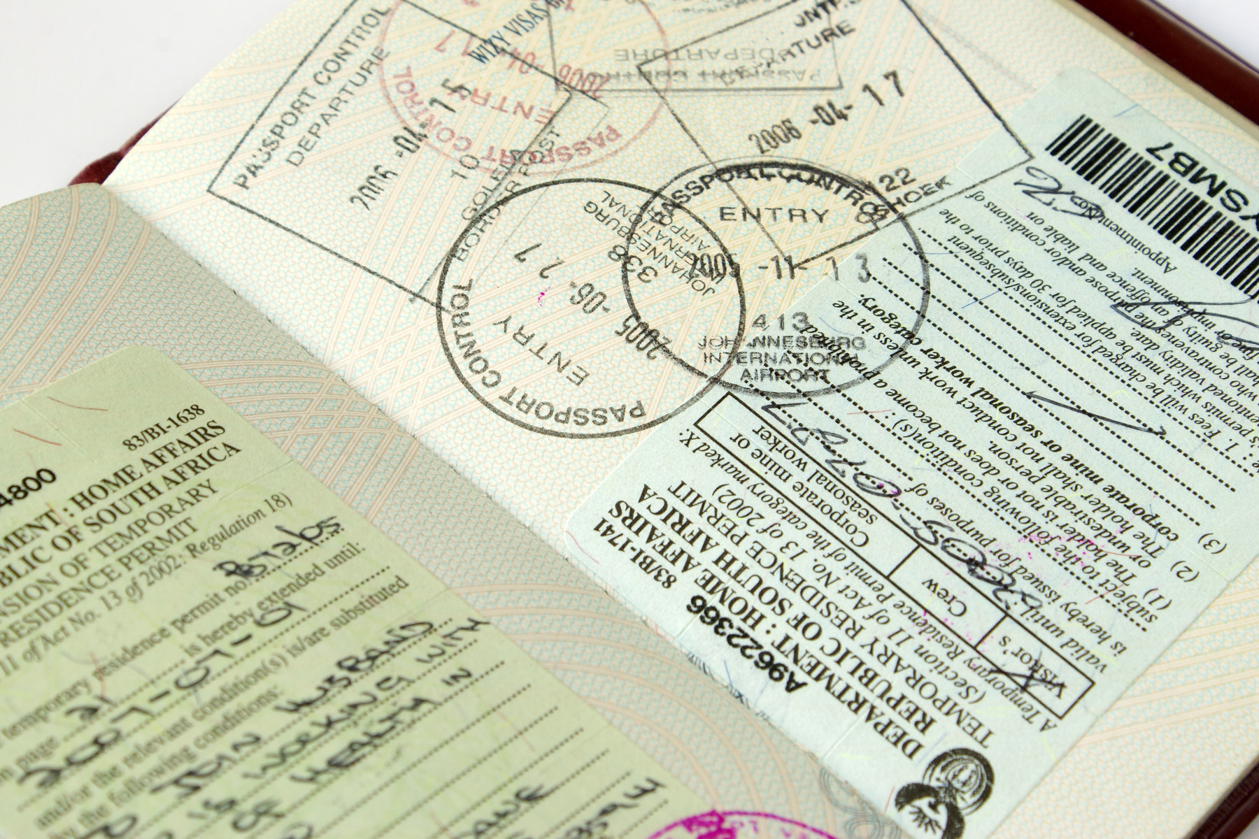 South African passport stamps