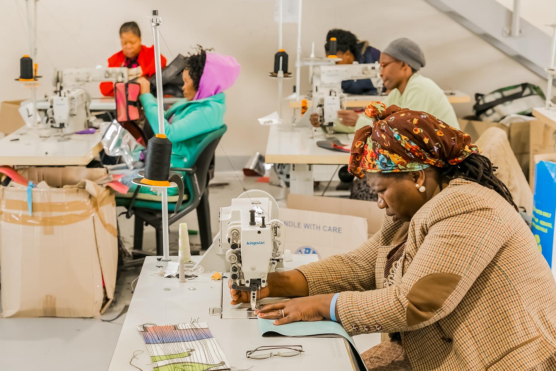 Seamstresses preparing garments in South Africa