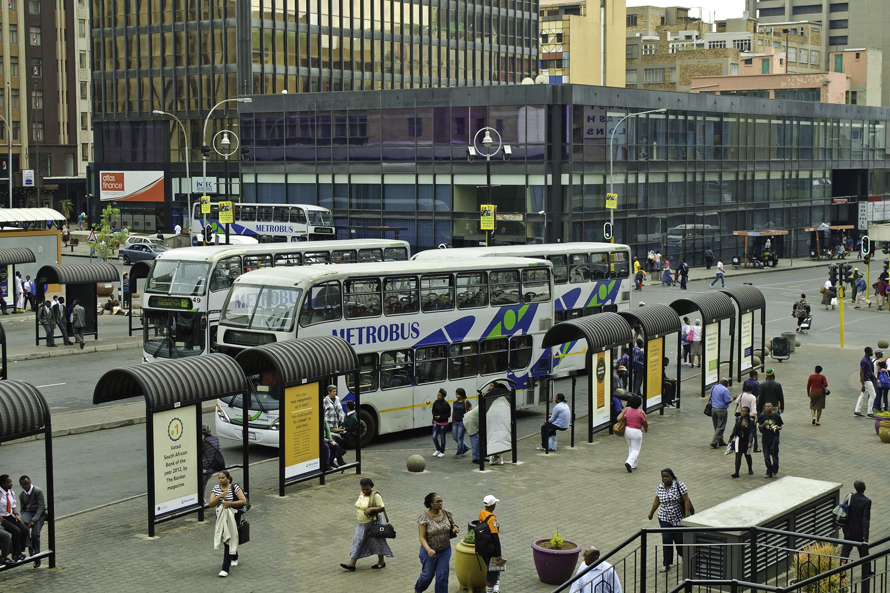 Buses at Gandhi Square in Johannesburg