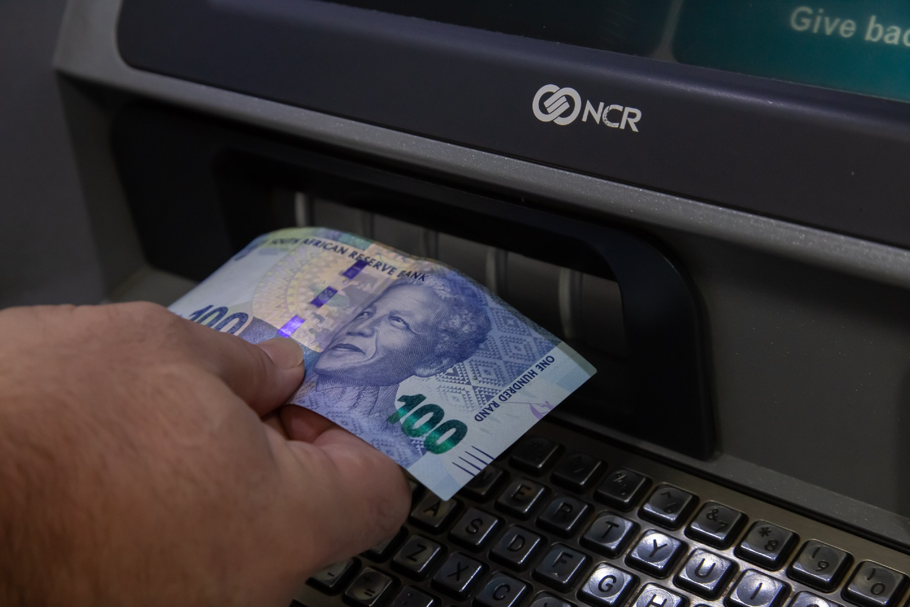 bank atm with South African rand