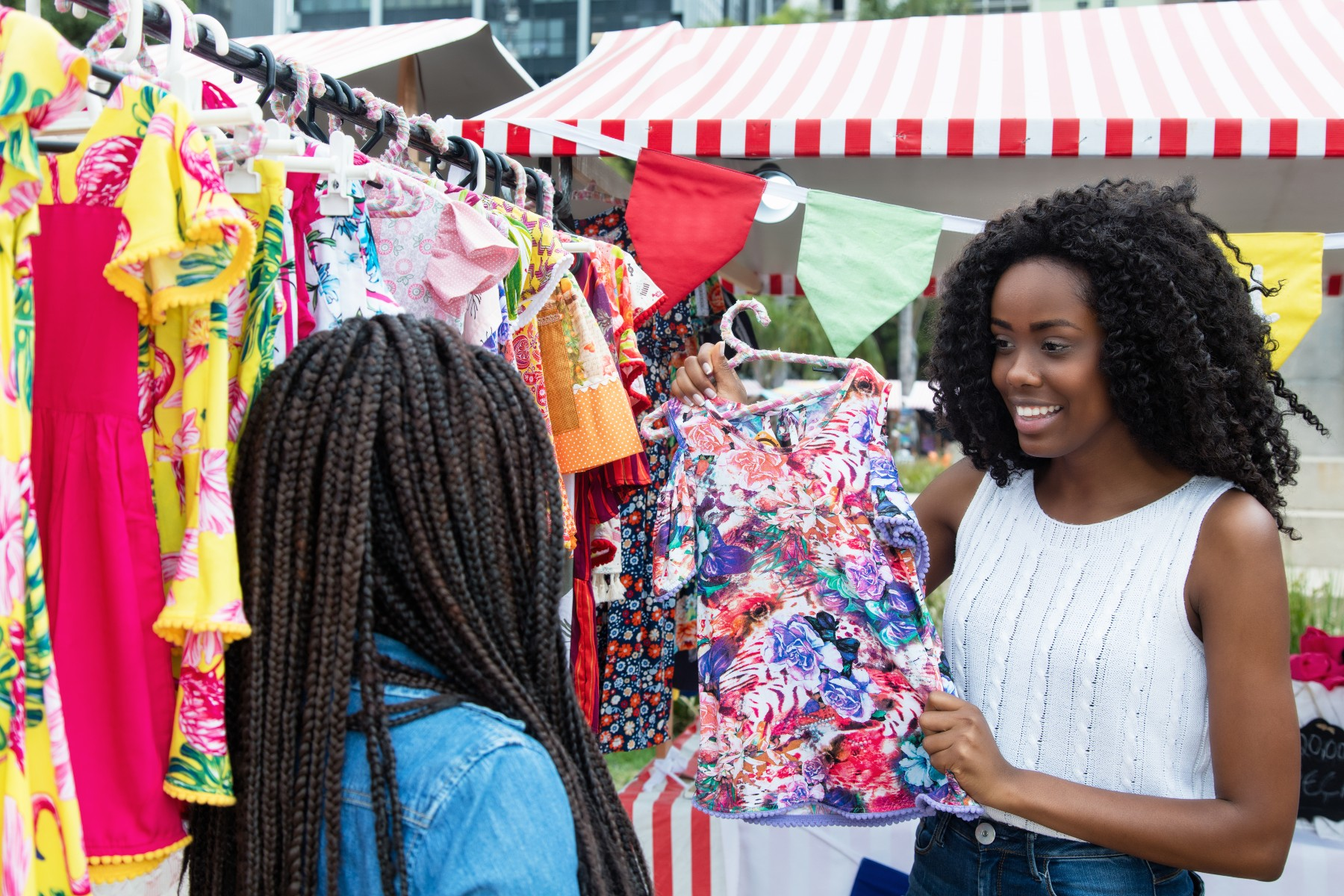 young women shop for clothes in South Africa