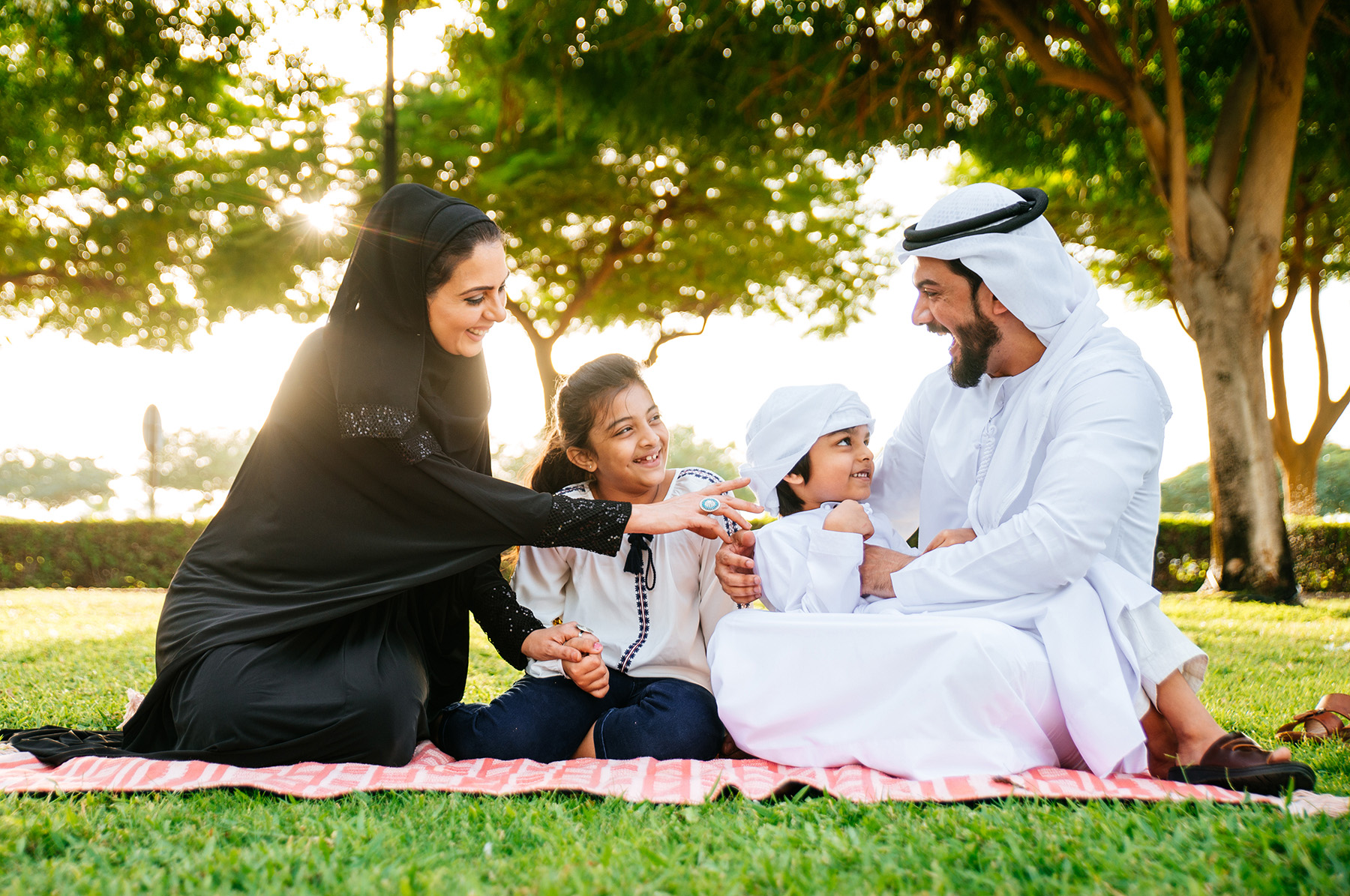 Family at a park in Qatar