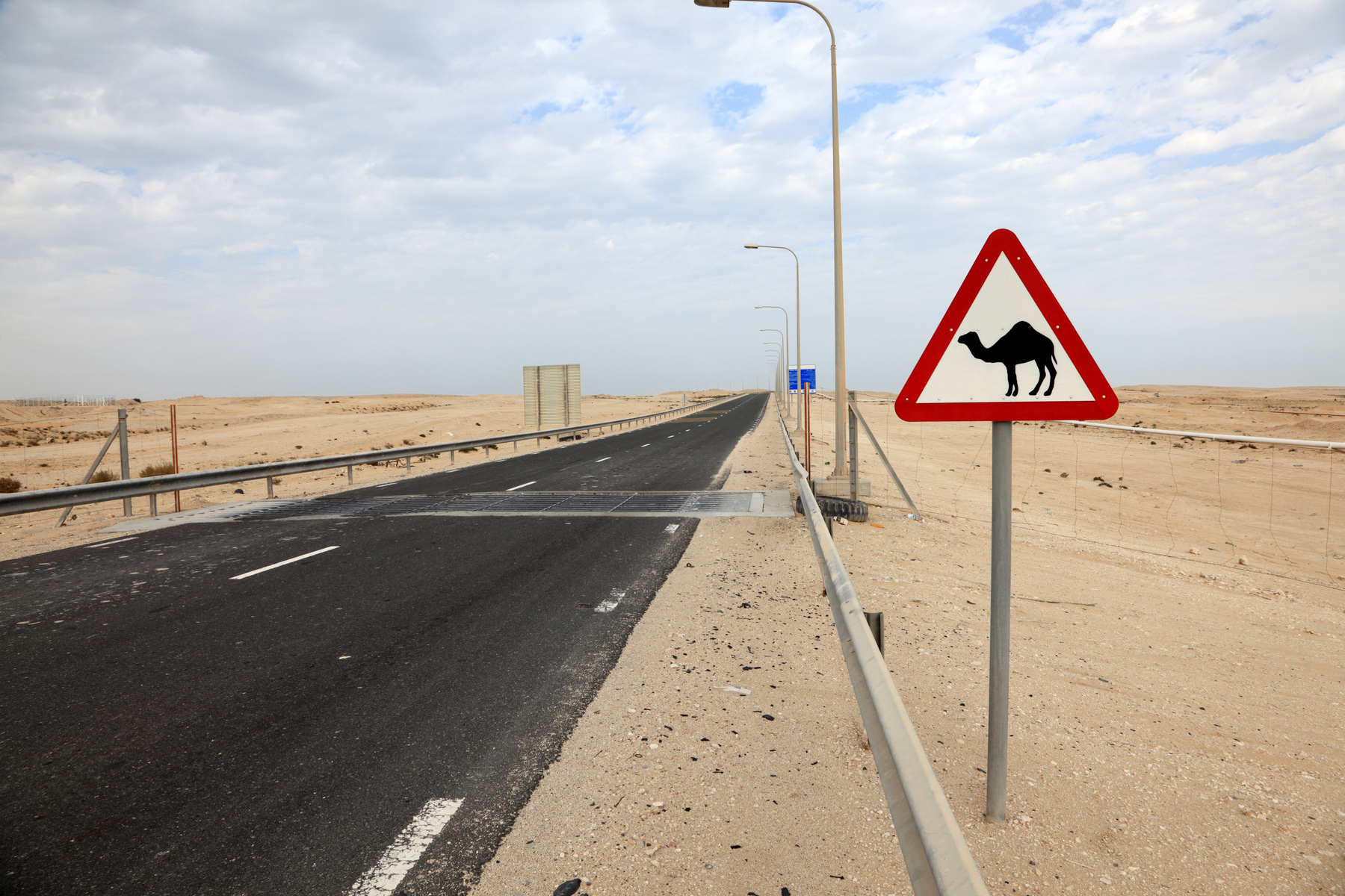 Road sign warning about camels