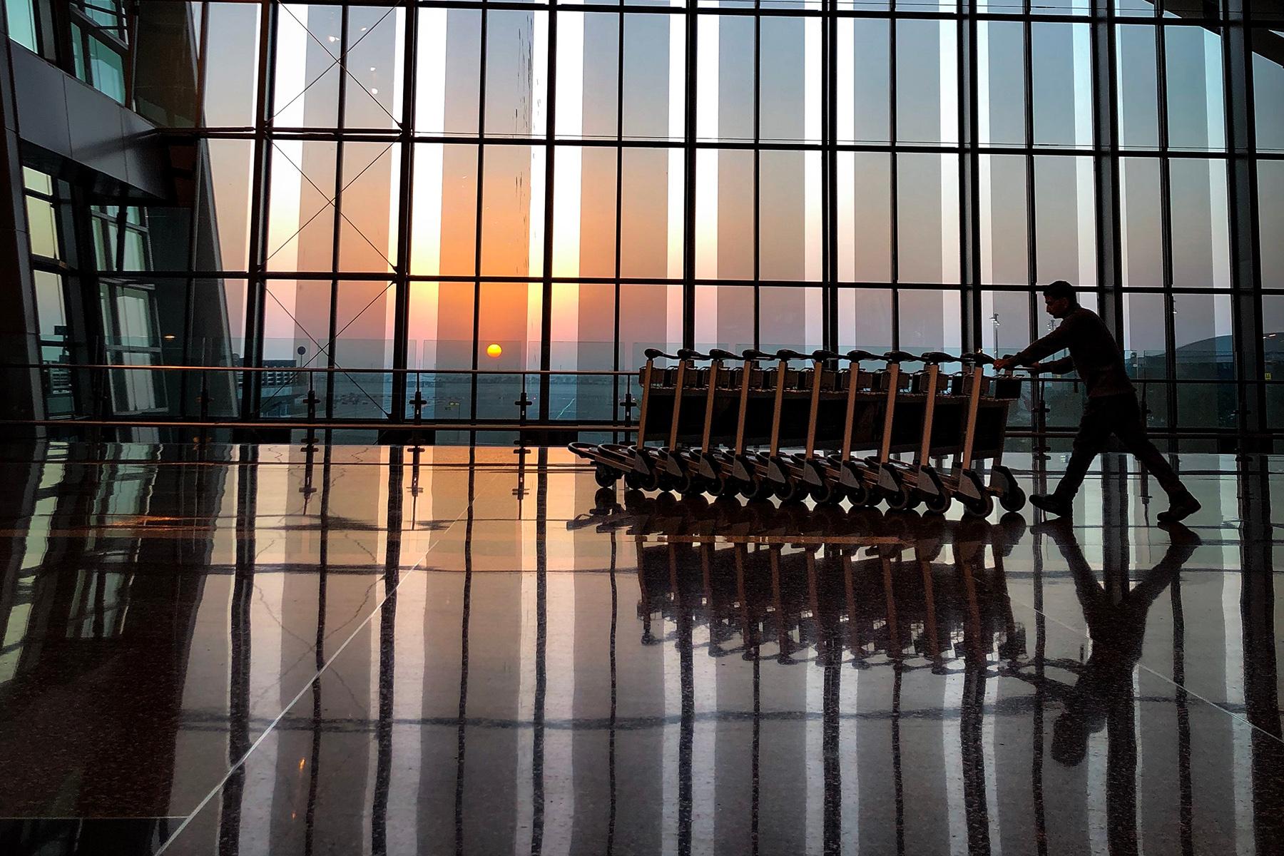 Luggage carts at Doha Airport