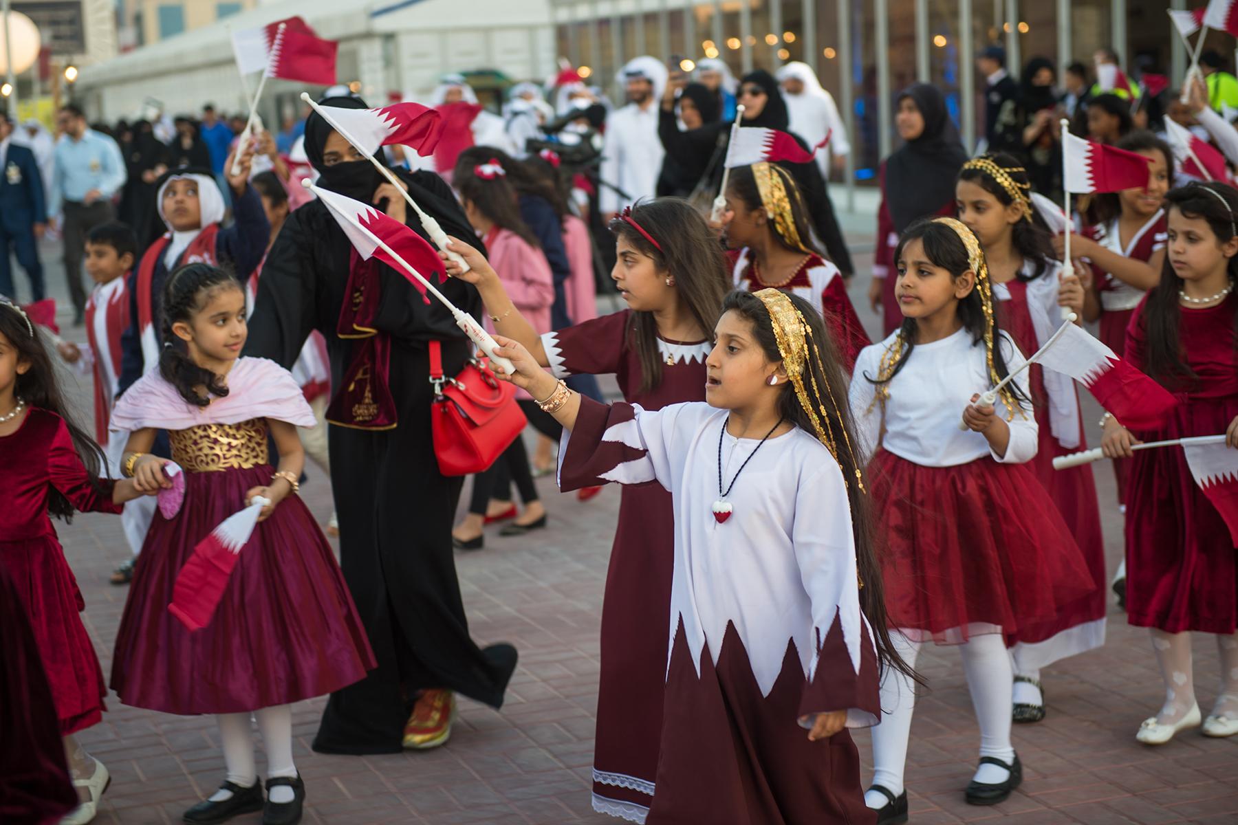 Children celebrate Qatar national day
