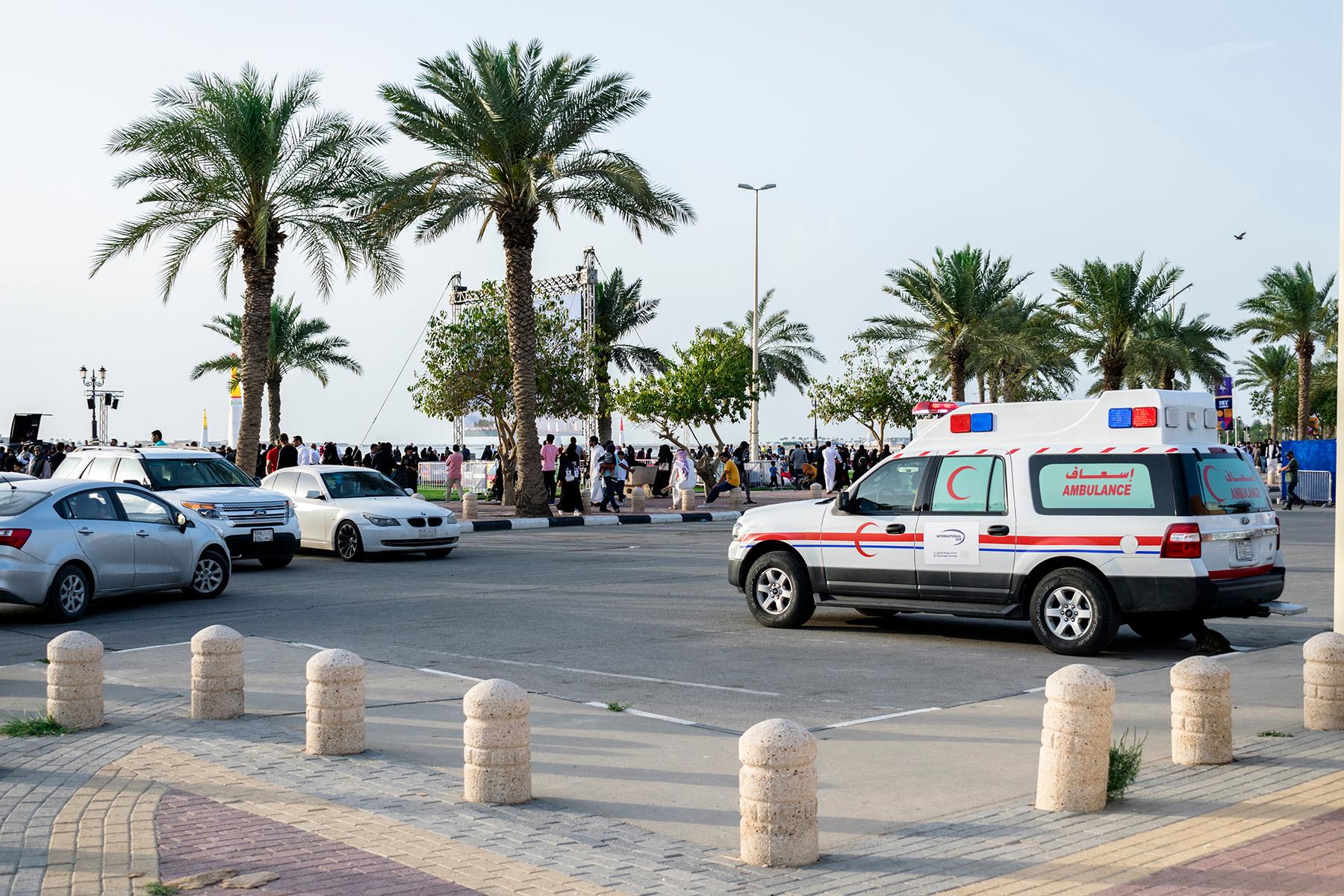 Ambulance waiting at a beach in Saudi Arabia