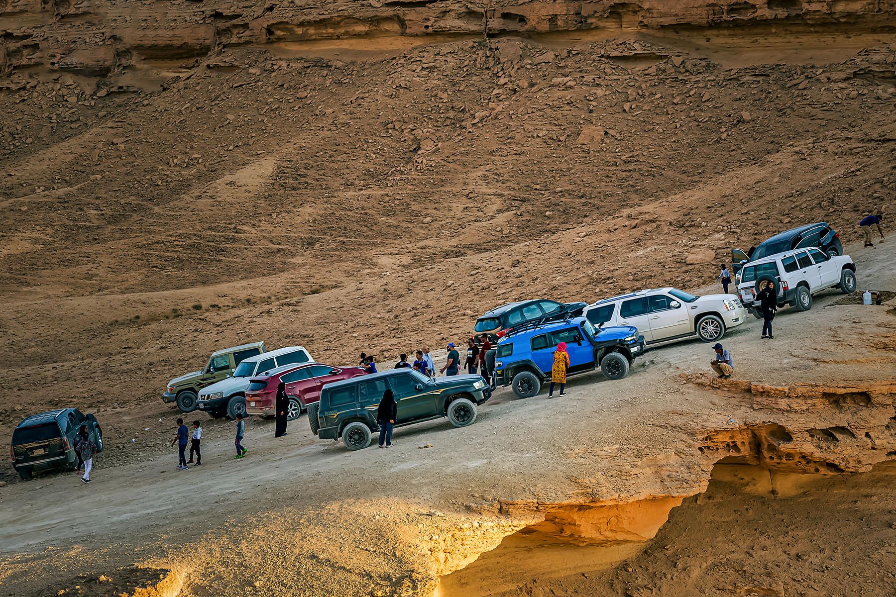 SUVs on a Saudi desert road