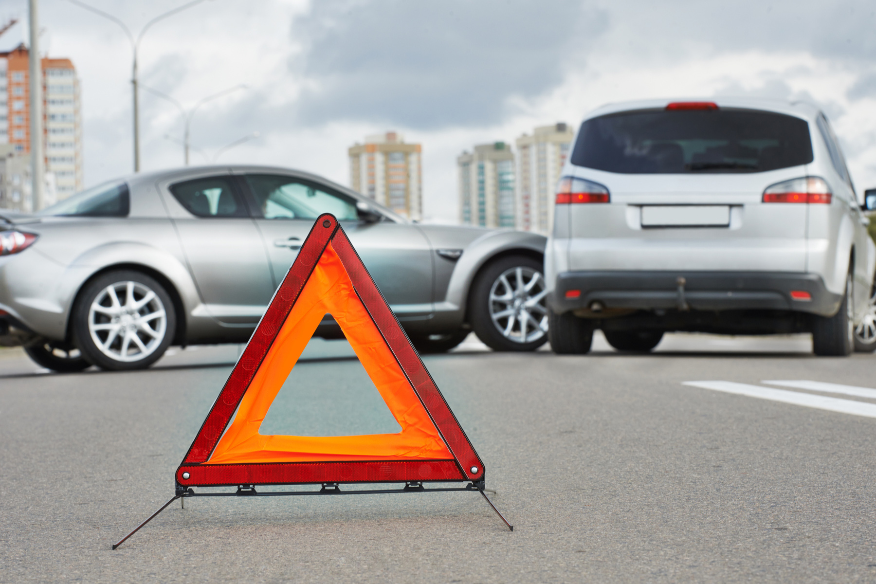 Triangle sign at a car accident