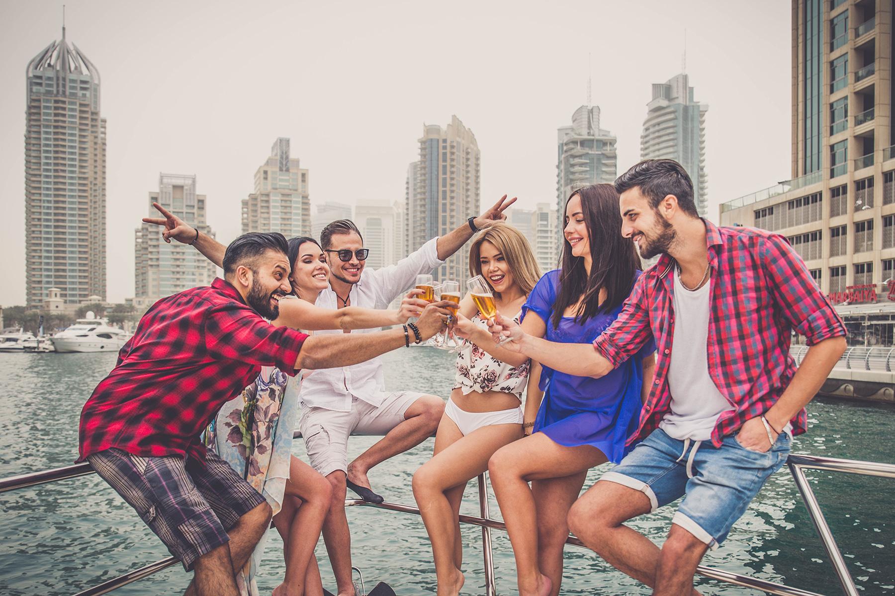Dubai expats at a yacht party