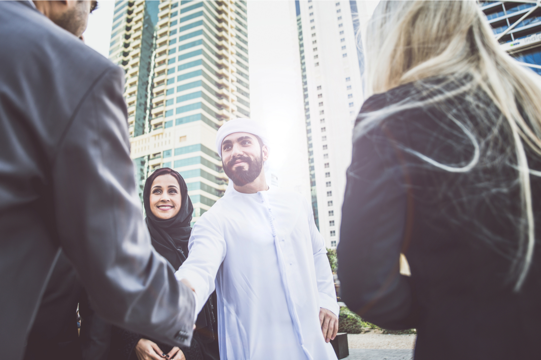 Handshake after a meeting in Dubai