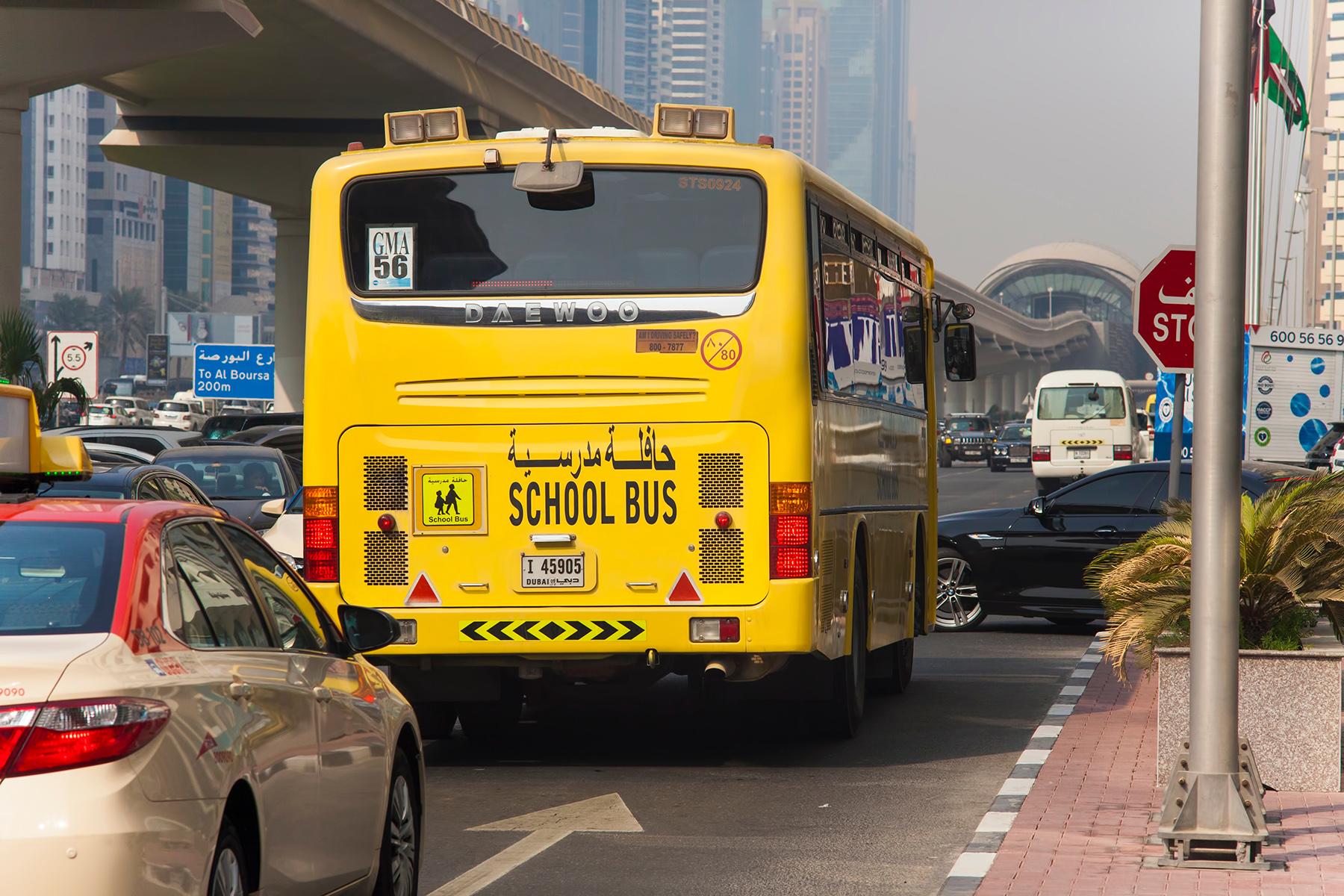 School bus in Dubai traffic