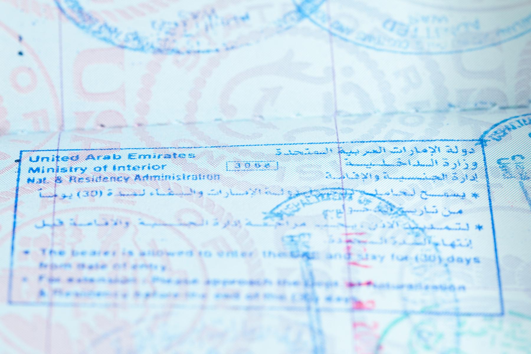 UAE visa stamp
